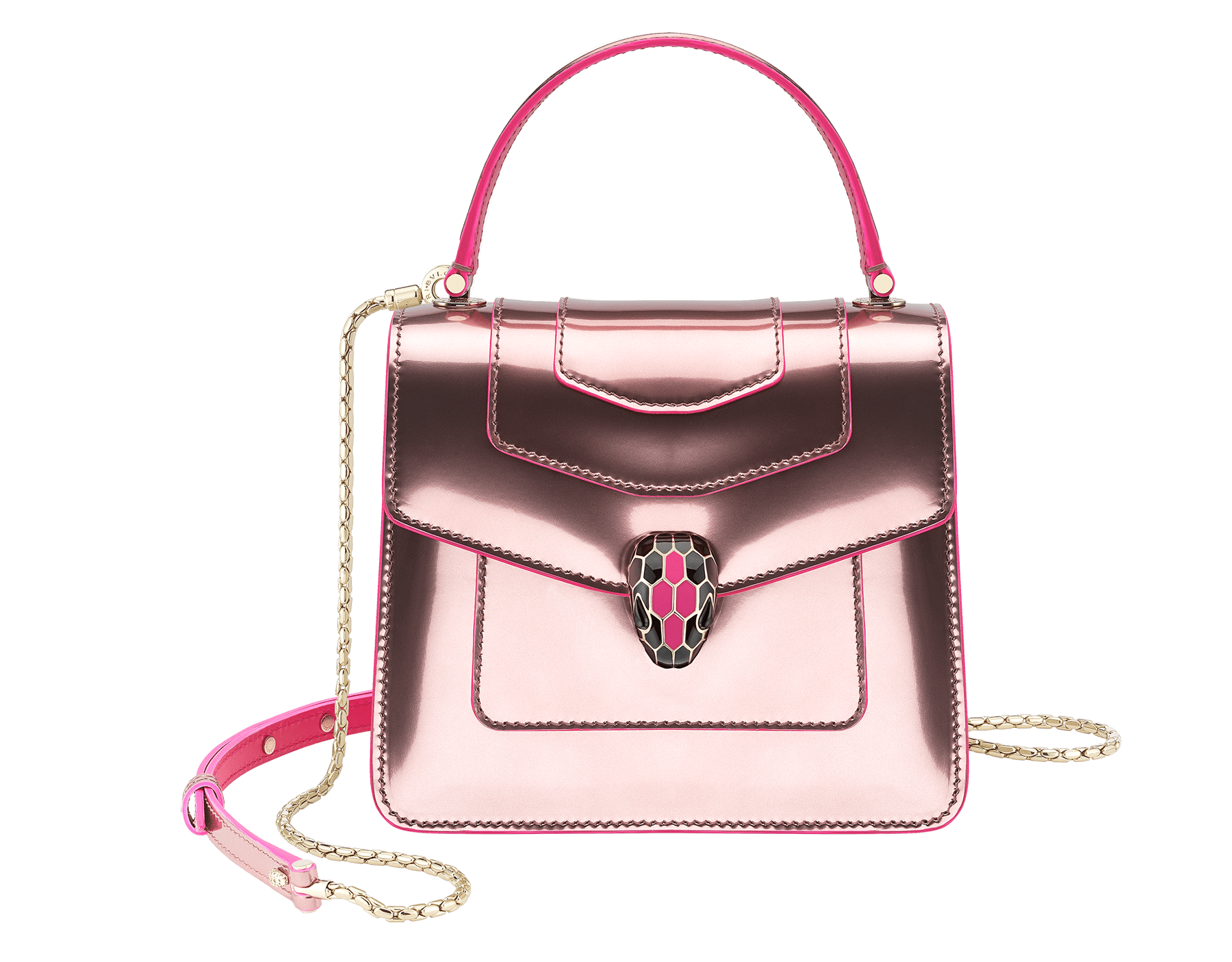 """Serpenti Forever "" crossbody bag with brushed metallic rose quartz calf leather body and brushed metallic rose quartz calf leather and flash amethyst calf leather sides. Iconic snake head closure in light gold plated brass enriched with black and flash amethyst enamel and black onyx eyes. 289486 image 1"
