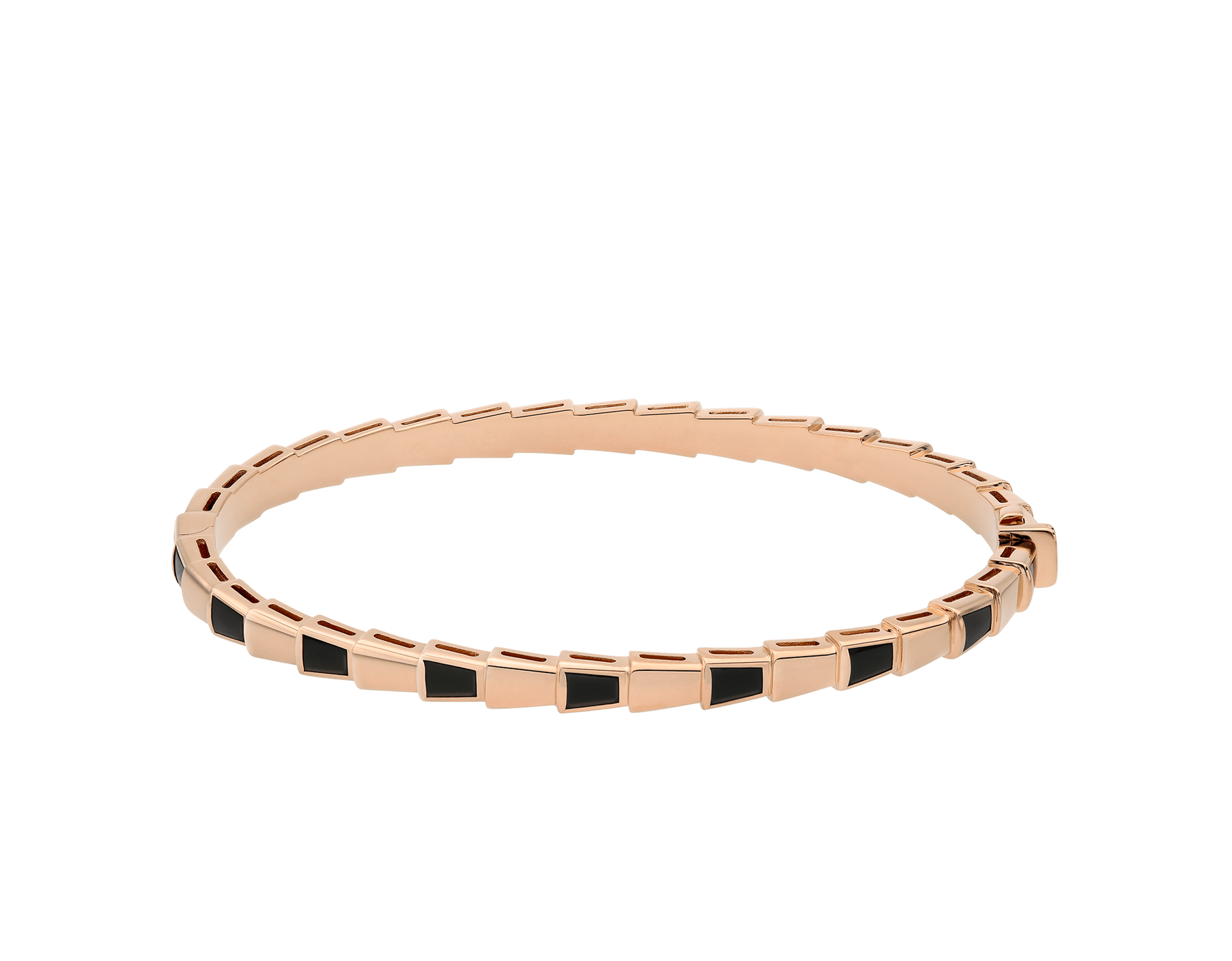 Serpenti Viper 18 kt rose gold thin bangle bracelet set with onyx elements BR858609 image 2