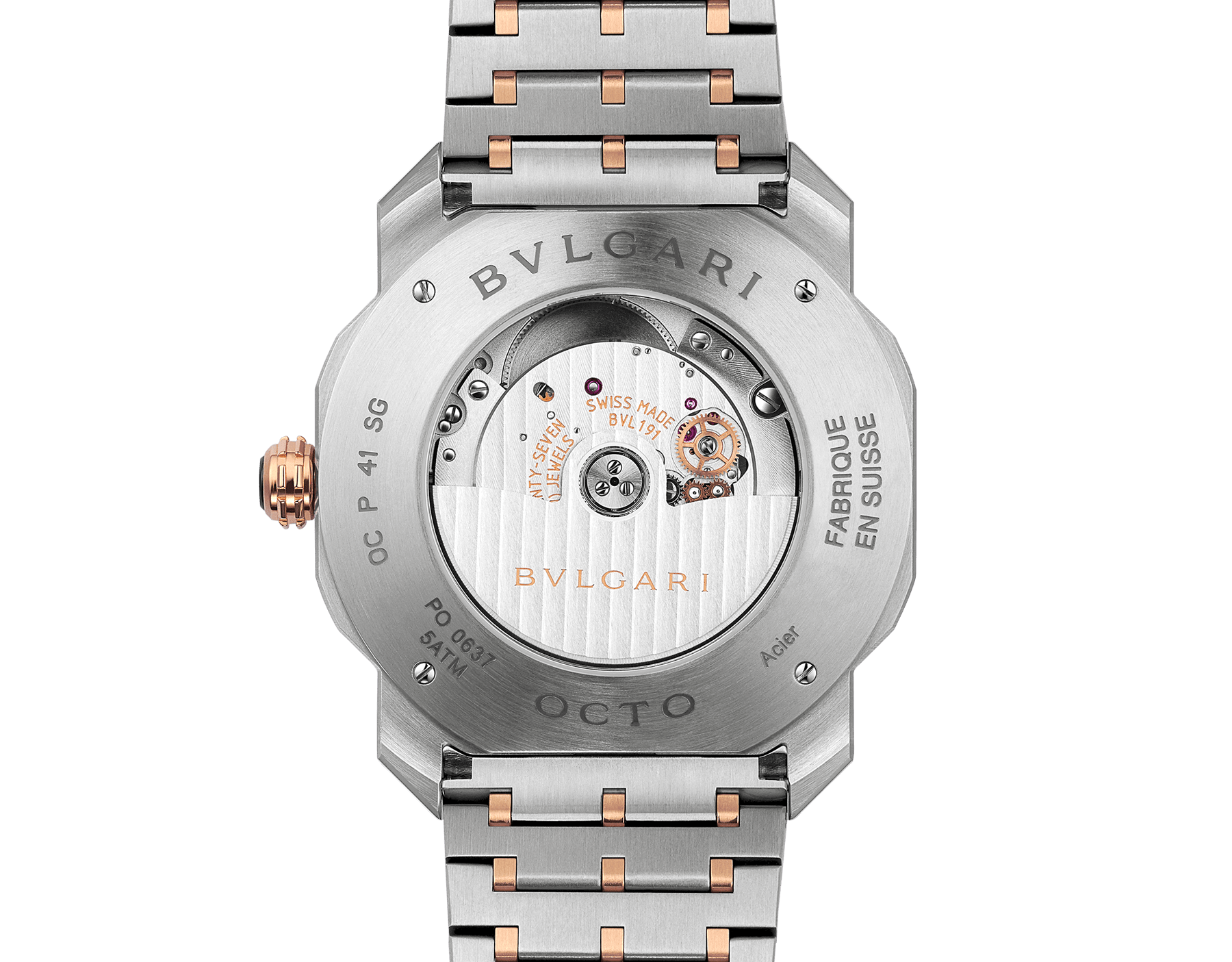 Octo Roma watch with mechanical manufacture movement, automatic winding, 18 kt rose gold and stainless steel case and bracelet, brown dial. 102854 image 4