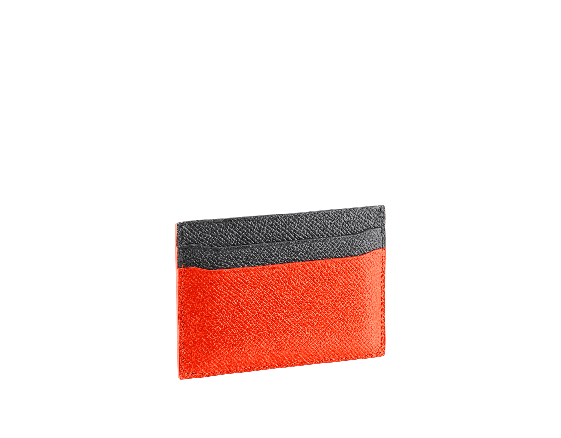 BVLGARI BVLGARI credit card holder in fire amber and charcoal diamond grain calf leather and fire amber nappa lining. Iconic logo decoration in palladium-plated brass. 289119 image 2