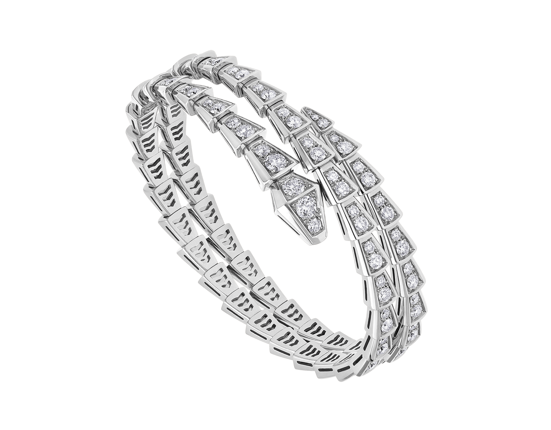 Serpenti Viper two-coil 18 kt white gold bracelet set with pavé diamonds BR858795 image 1