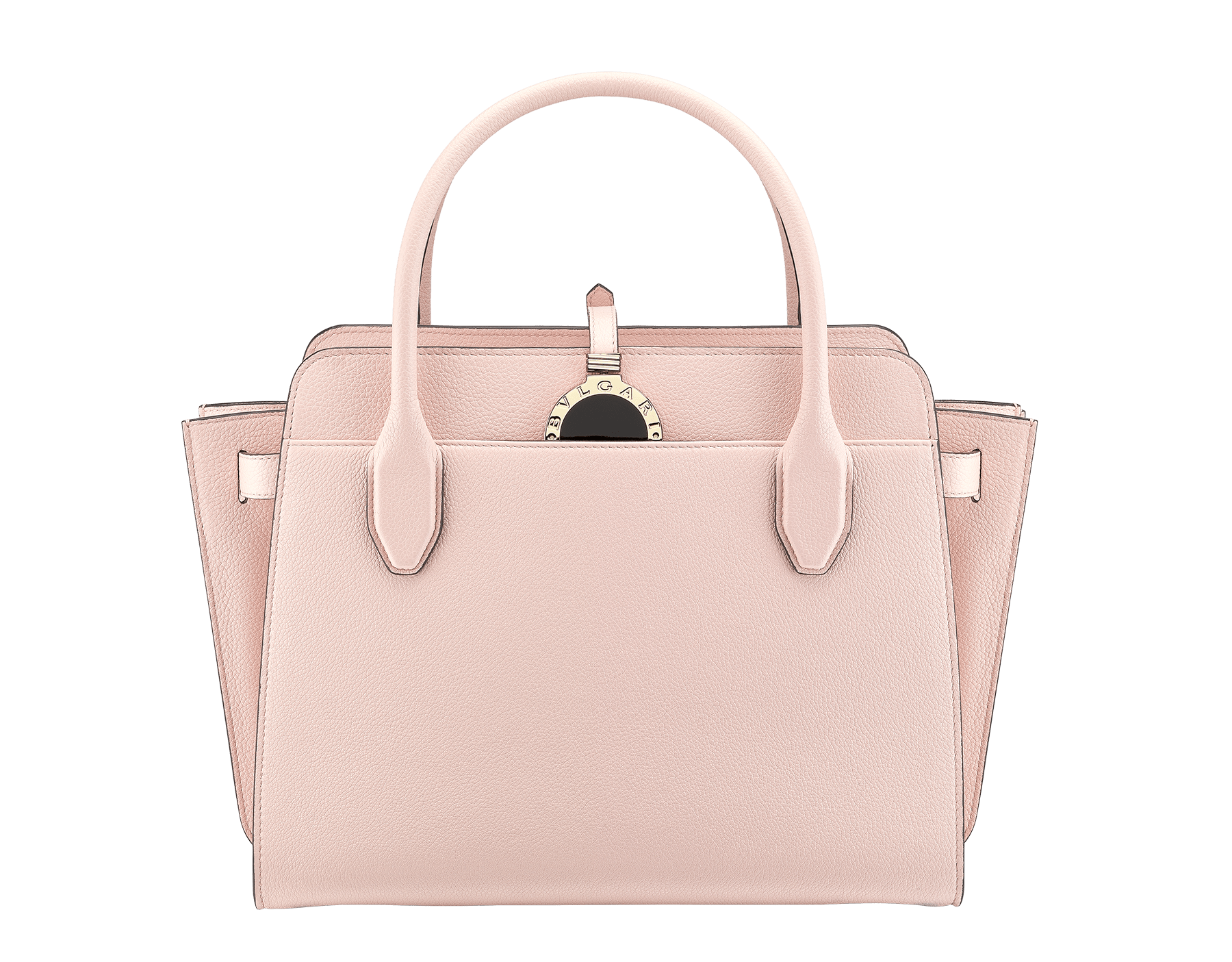 BVLGARI BVLGARI Alba tote bag in crystal rose grain calf leather, with zip closure. Iconic double logo pendant in brass light gold plated metal with black enamel on the front side, leather on the back side and Tubogas motif 834-CL image 1