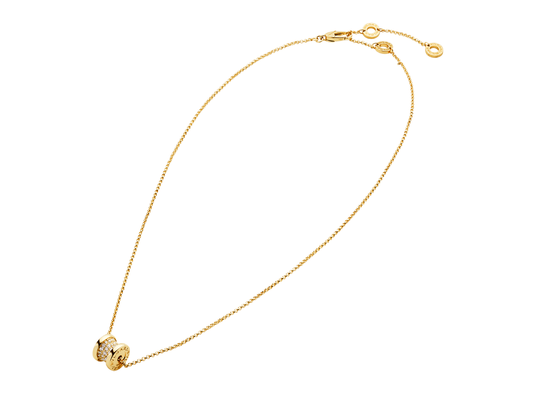 B.zero1 18 kt yellow gold necklace set with pavé diamonds on the spiral 357496 image 2