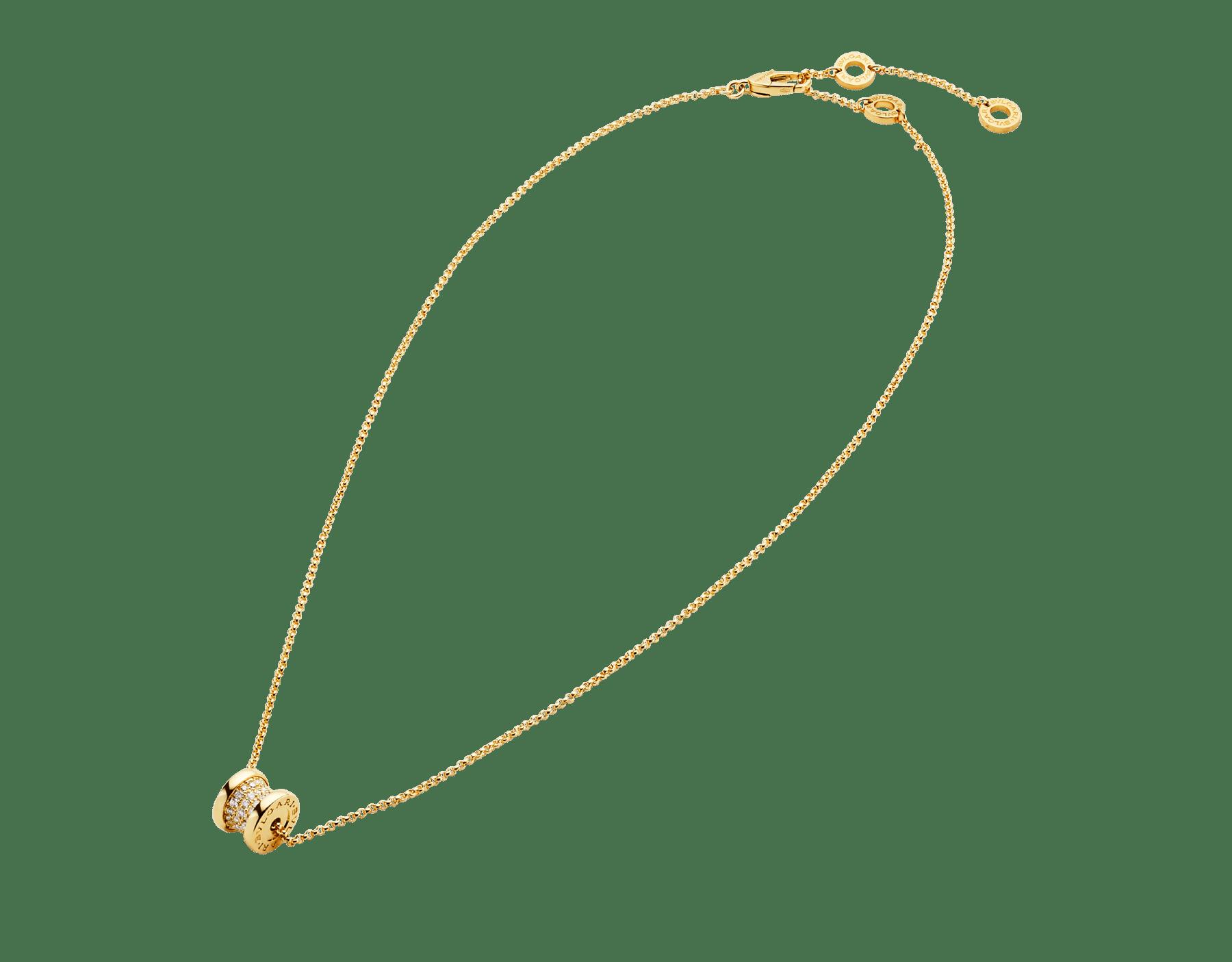 """""""B.zero1"""" Halskette aus 18 Karat Gelbgold, an der Spirale ausgefasst mit Diamant-Pavé 357496 image 2"""