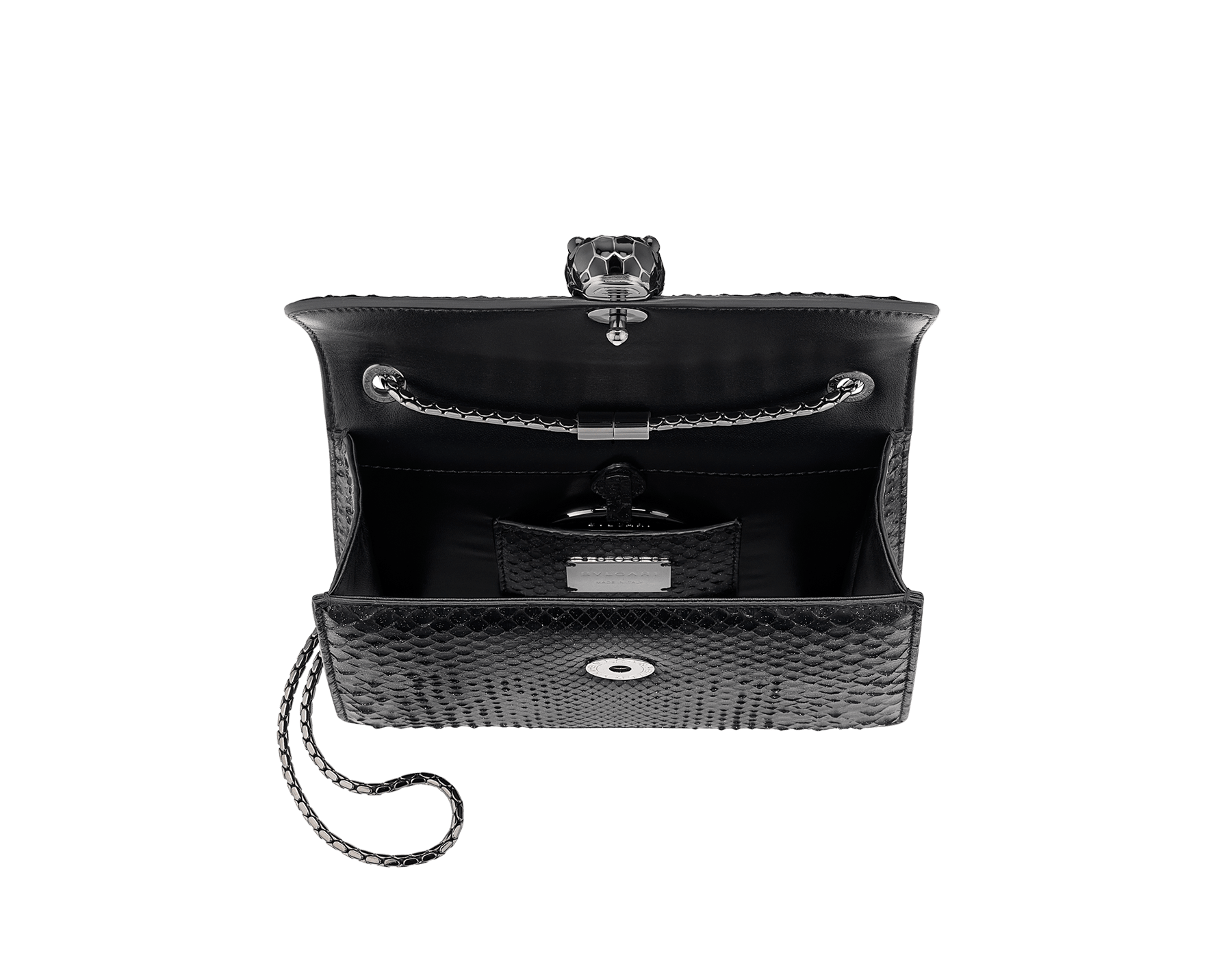"""Serpenti Forever"" crossbody bag in black Diamond Glam python skin. Iconic snake head closure in dark ruthenium plated brass enriched with black enamel and black onyx eyes. 288869 image 4"