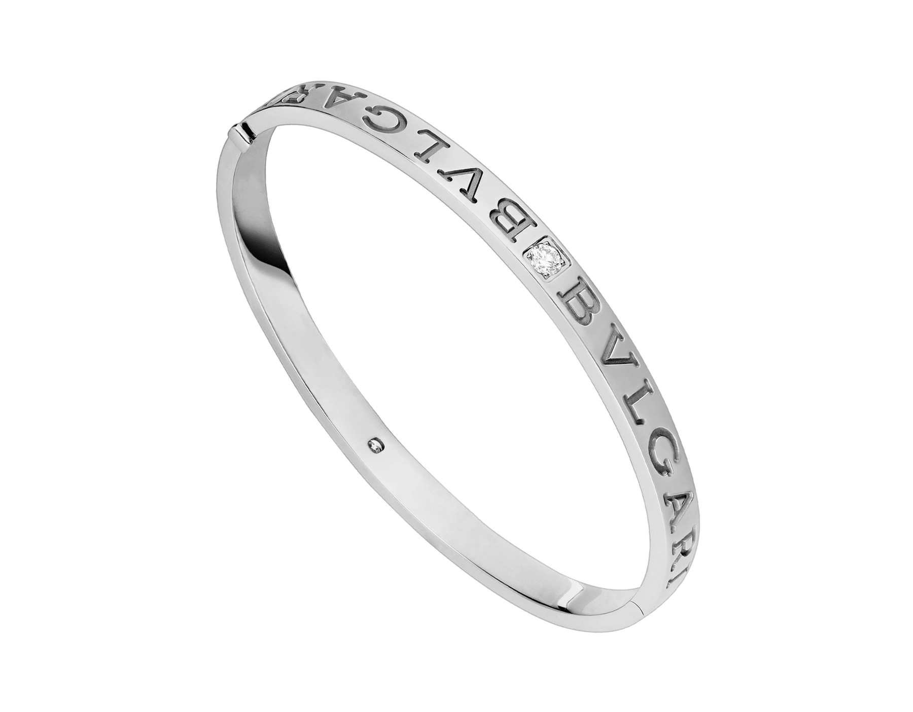 Bracelet jonc BVLGARI BVLGARI en or blanc 18K serti de diamants BR856790 image 1
