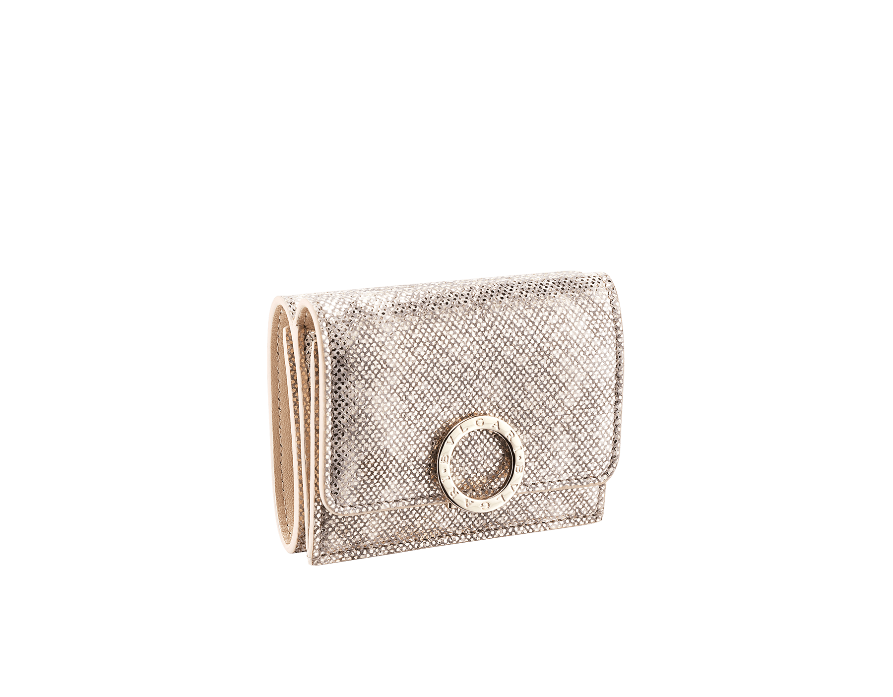 BVLGARI BVLGARI compact wallet in milky opal metallic karung skin and milky opal nappa leather. Iconic logo closure clip in light gold plated brass on the flap and press button closure on the body. 579-MINICOMPACT-K image 1