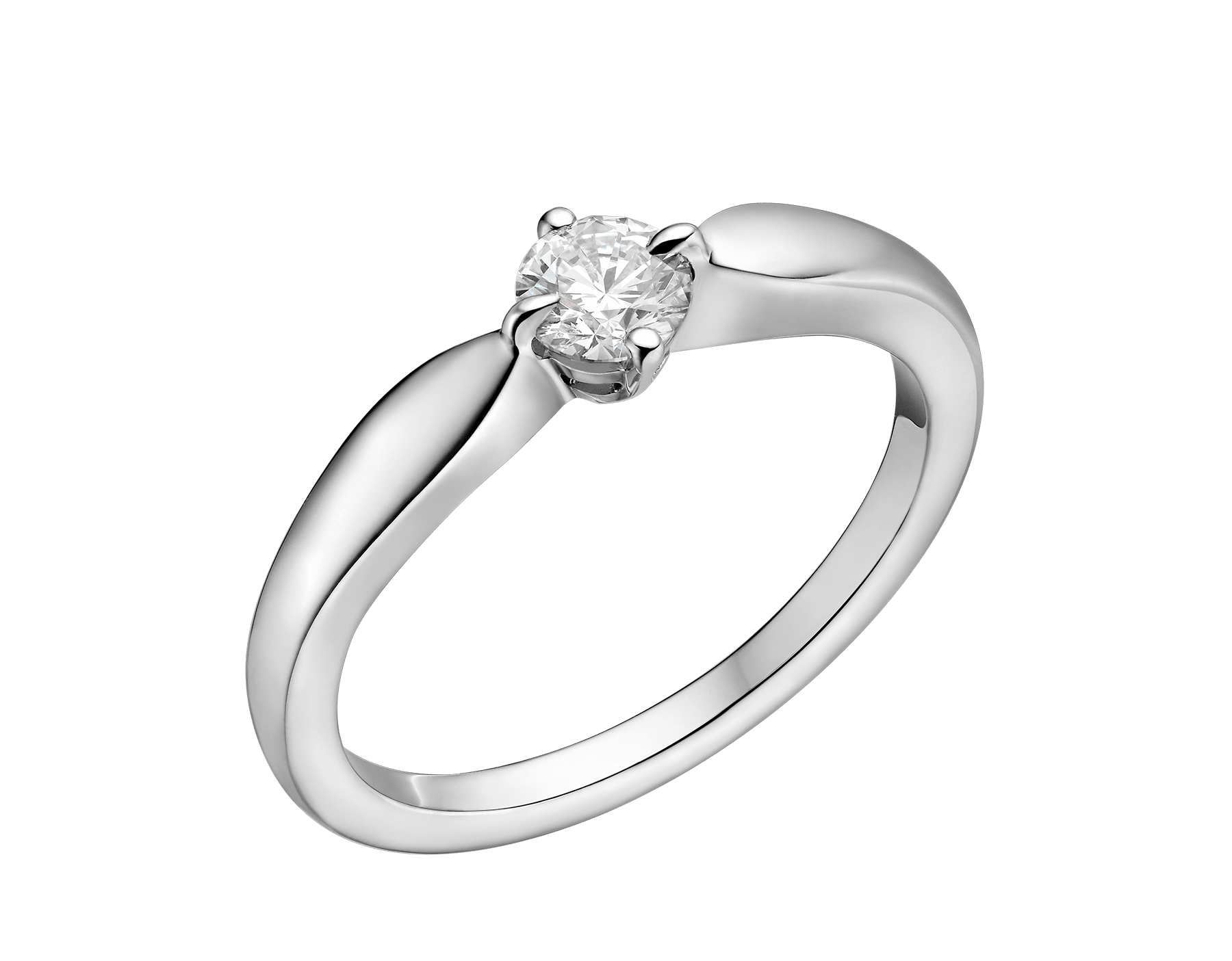 Dedicata a Venezia: Torcello solitaire ring in platinum with round brilliant-cut diamond. Available from 0.30 ct. Its curved setting perfectly embraces the diamond. The name comes from the Venetian island of Torcello. 344114 image 1