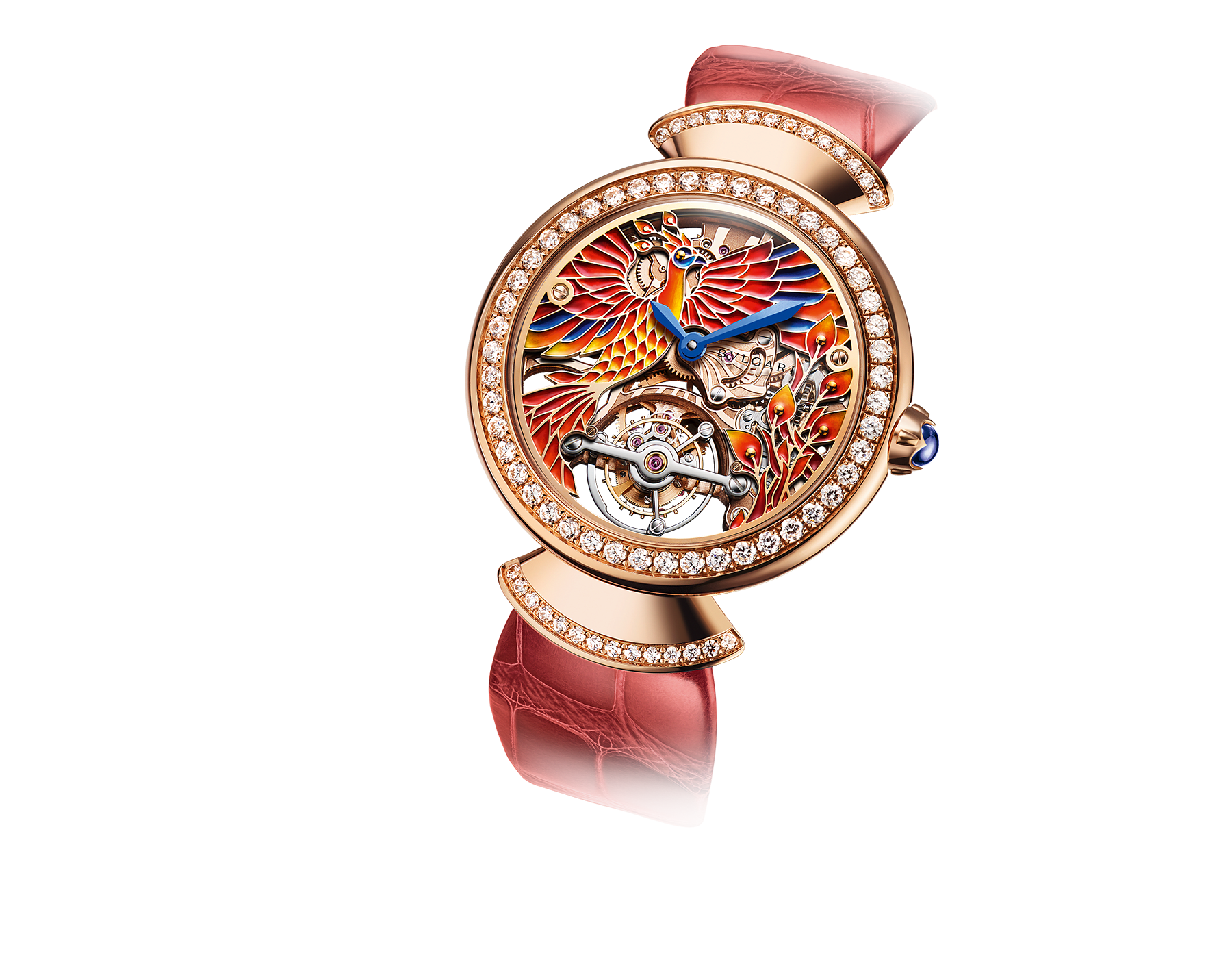 Divina Tourbillon Phoenix Limited Edition watch with mechanical manufacture movement, manual winding, see-through tourbillon, 18 kt rose gold case set with brilliant-cut diamonds, skeletonized dial decorated with hand painted miniature motifs of a phoenix and flames, and red alligator bracelet 102947 image 2