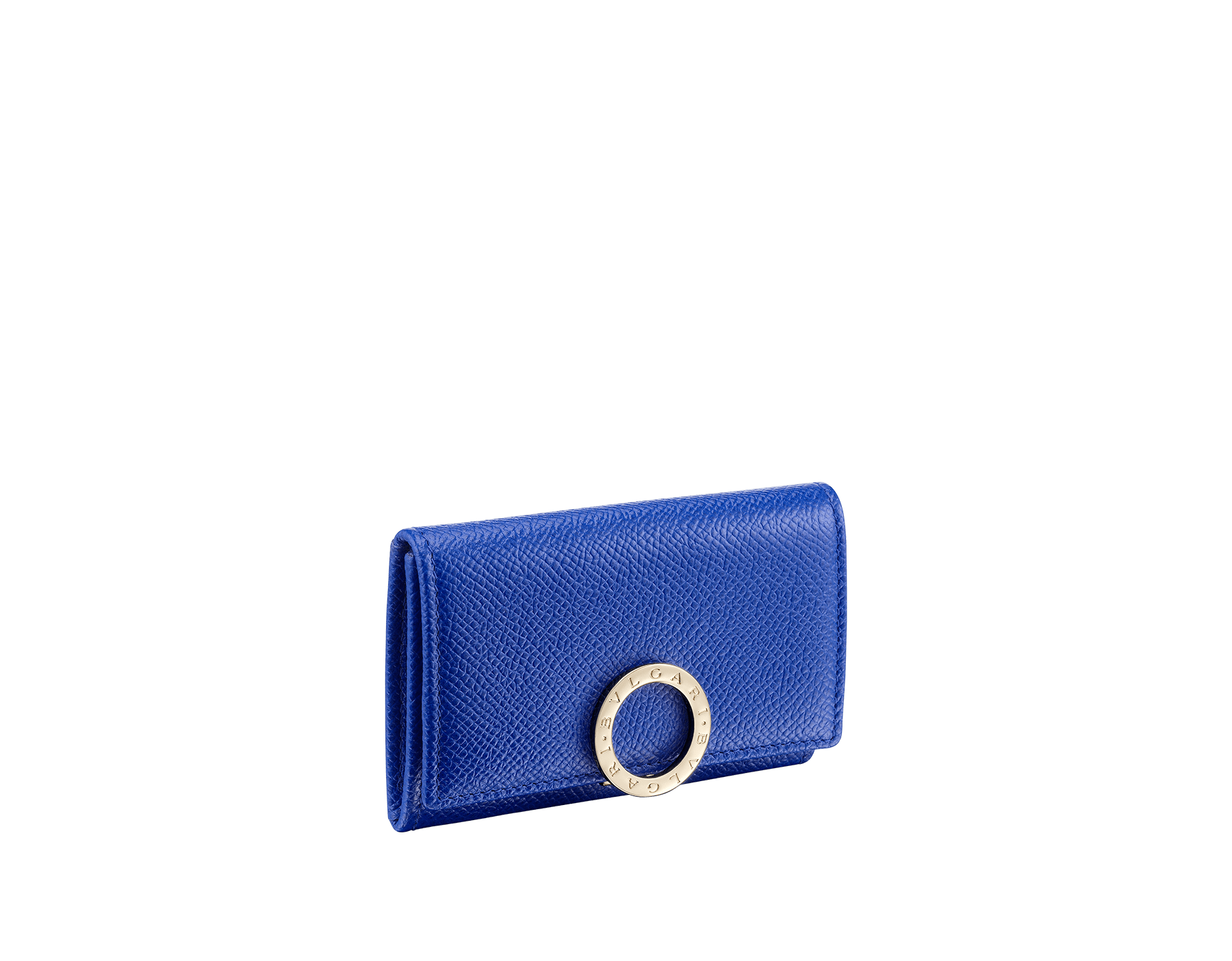 BVLGARI BVLGARI coin purse in cobalt tourmaline grain calf leather and aster amethyst nappa leather. Iconic logo closure clip in light gold plated brass 579-WLT-S-RECT image 1