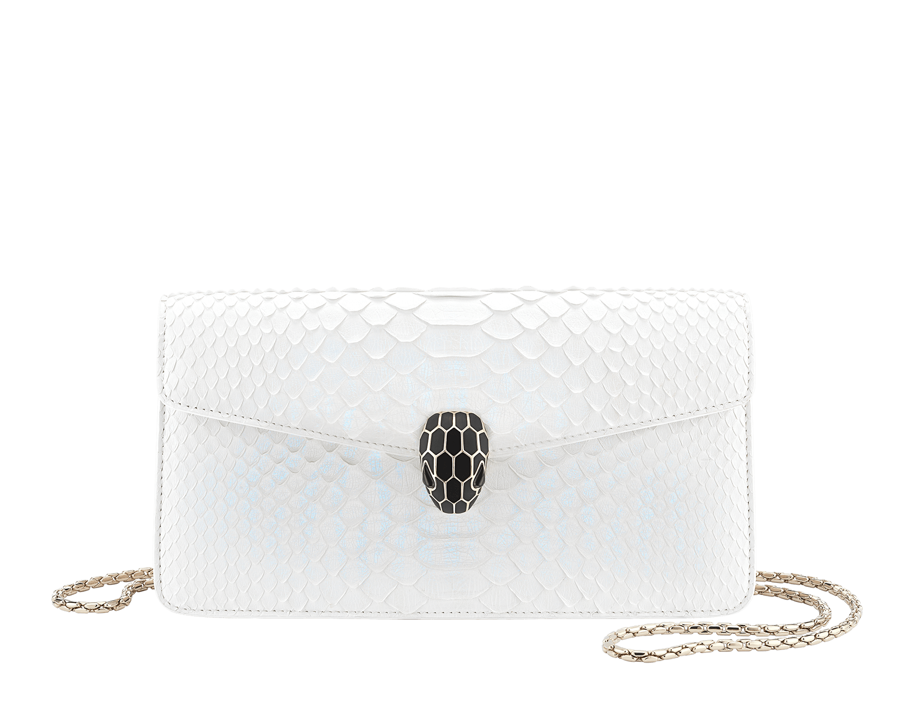 """""""Serpenti Forever"""" shoulder bag in white agate python skin with an iridescent finishing. Iconic snake head closure in light gold plated brass enriched with matte black and shiny white agate enamel and black onyx eyes. 289774 image 1"""