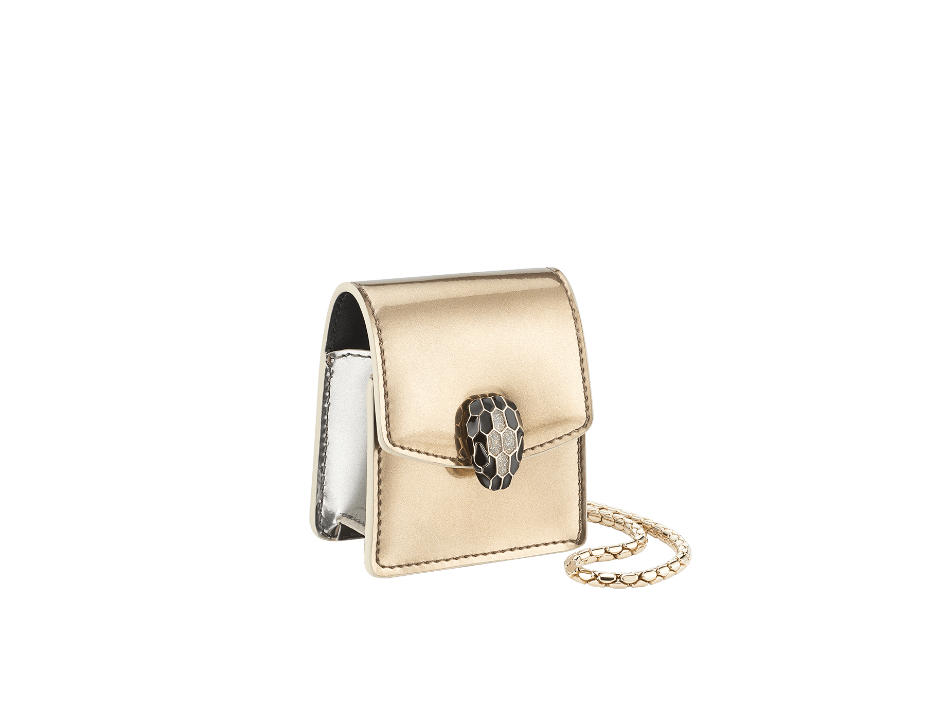 Serpenti Forever Holiday Season AirPods holder in antique bronze and silver brushed metallic calf leather. Snakehead closure in light gold plated brass embellished with black and glitter silver enamel, and black onyx eyes. 289489 image 1