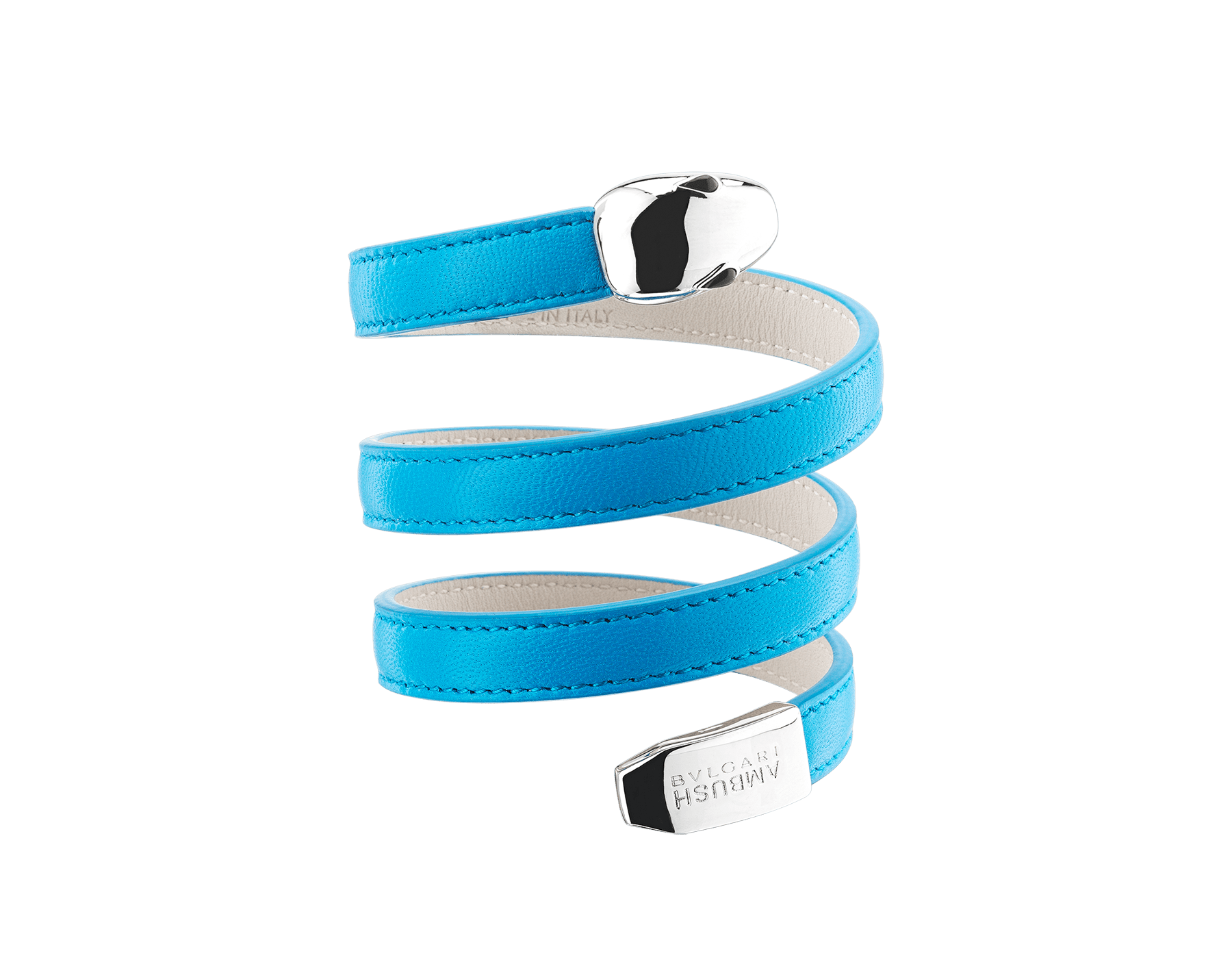 """Ambush x Bvlgari"" Serpenti multi-coiled bracelet in bright blue nappa leather. This model features palladium plated brass iconic snakehead décor, finished with black onyx eyes, and snake tail with ""BVLGARI AMBUSH"" logo. Limited edition. 290363 image 1"