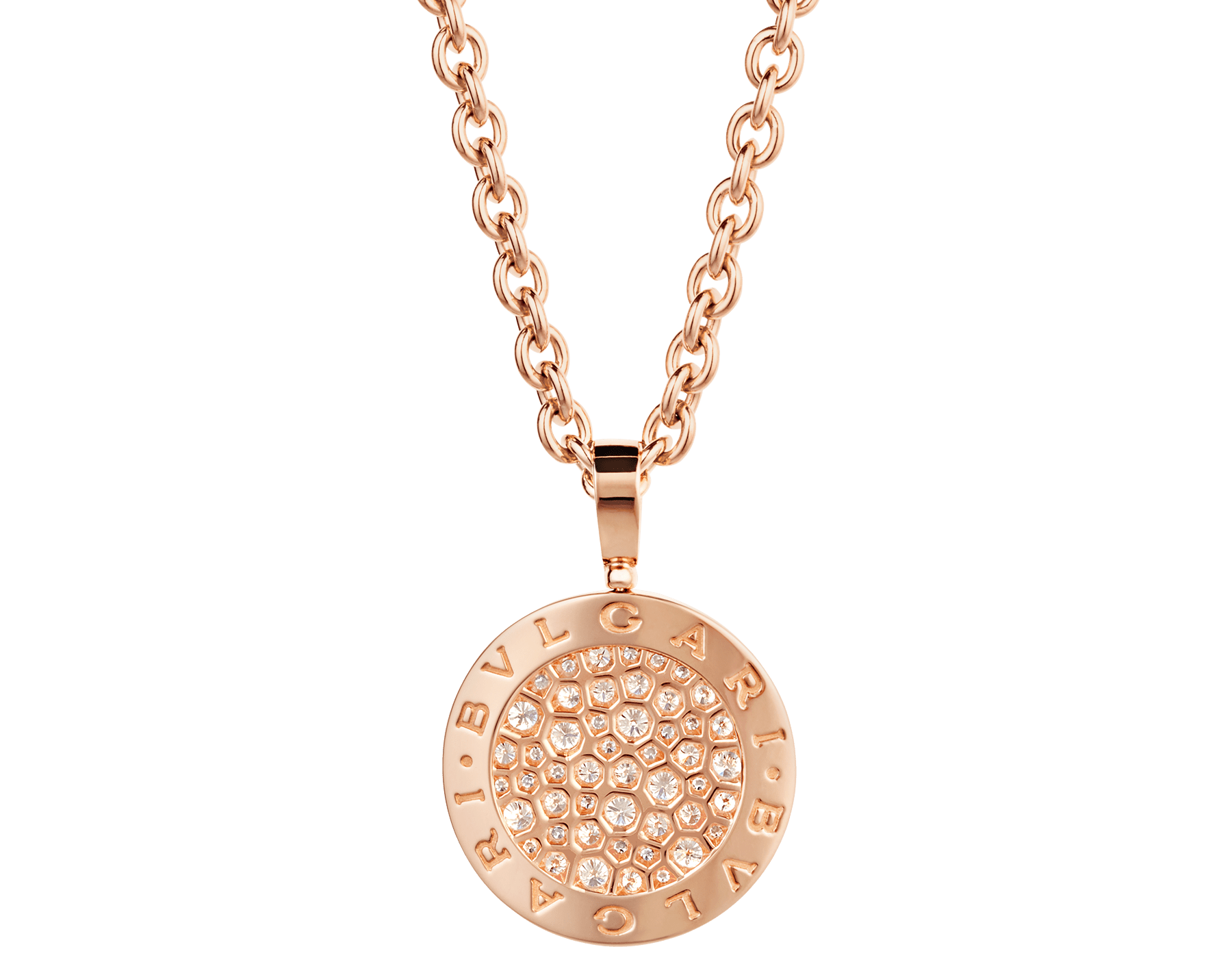 BVLGARI BVLGARI necklace with 18 kt rose gold chain and 18 kt rose gold pendant set with pavé diamonds 345277 image 3