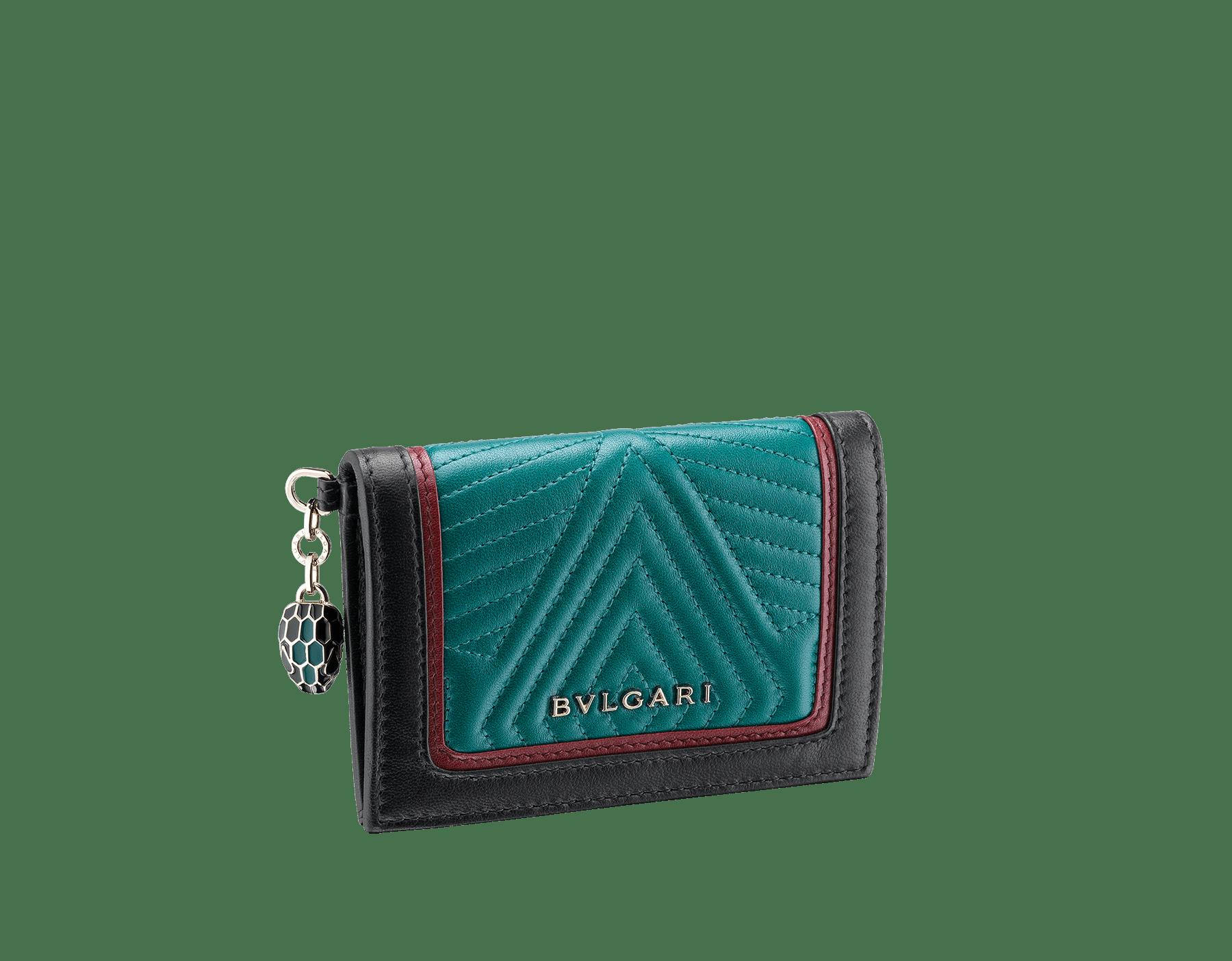 Serpenti Diamond Blast folded credit card holder in deep jade quilted nappa leather. Iconic snakehead charm in black and deep jade enamel, with black enamel eyes. 288145 image 1