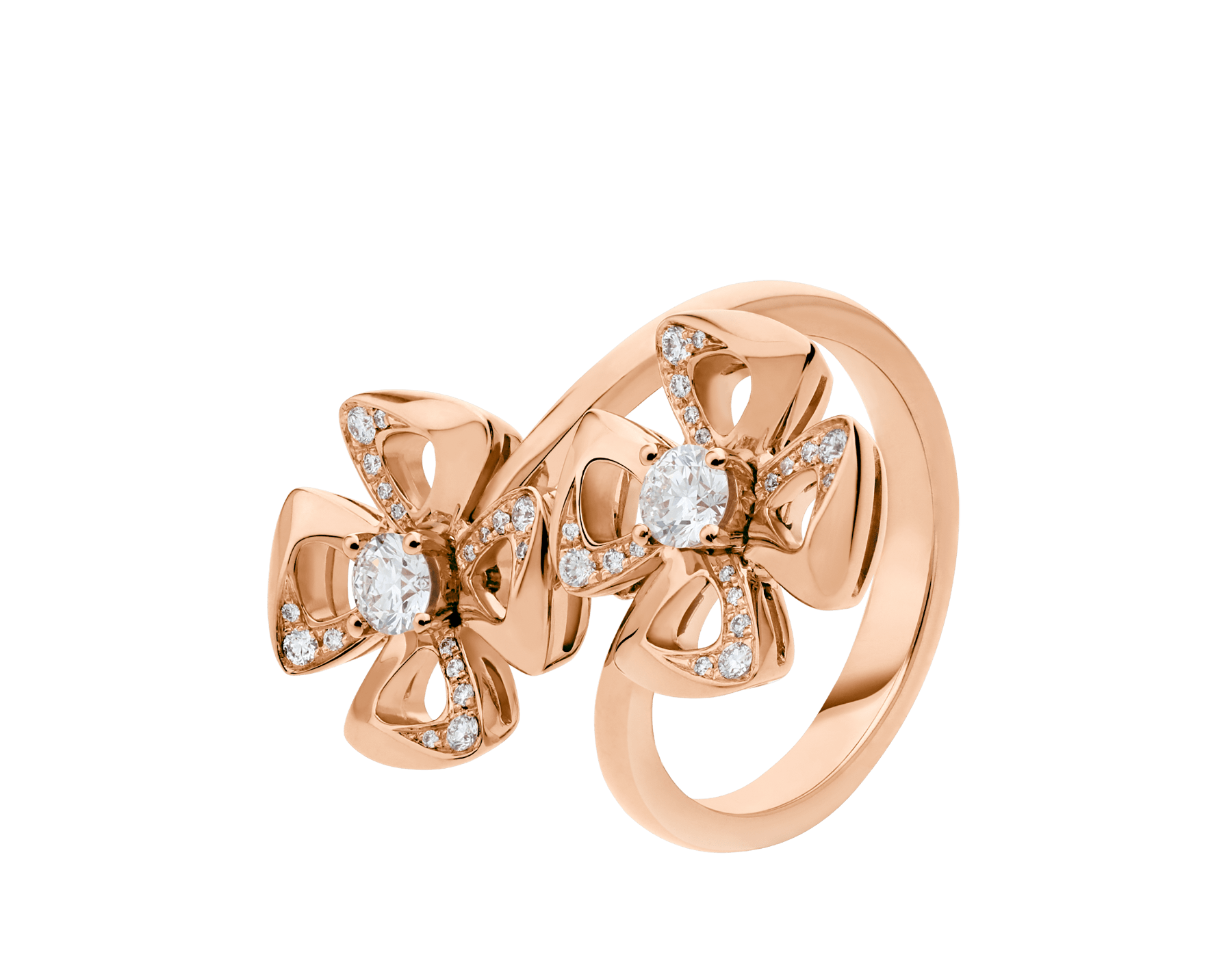 Fiorever 18 kt rose gold ring set with two round brilliant-cut diamonds and pavé diamonds. AN858753 image 1