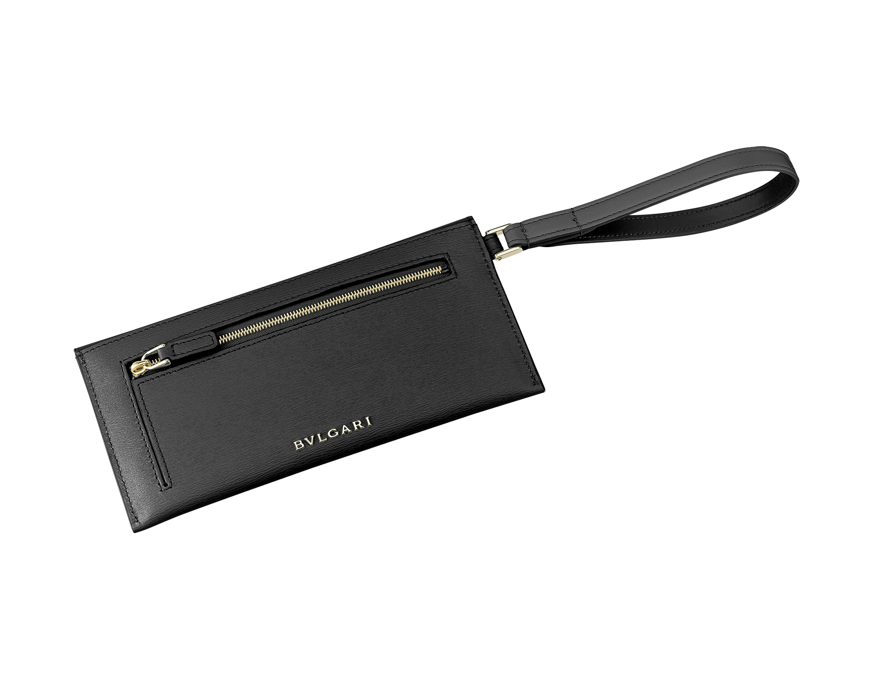 Serpenti Forever envelope pouch in black goatskin and black calf leather. Iconic snake head stud closure in black enamel, with black onyx eyes. 289091 image 3