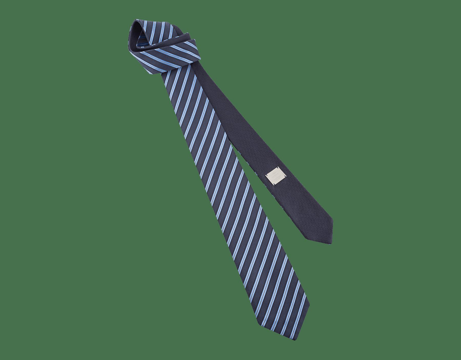 Blue Double Logo Lane pattern tie in fine silk. 242588 image 1