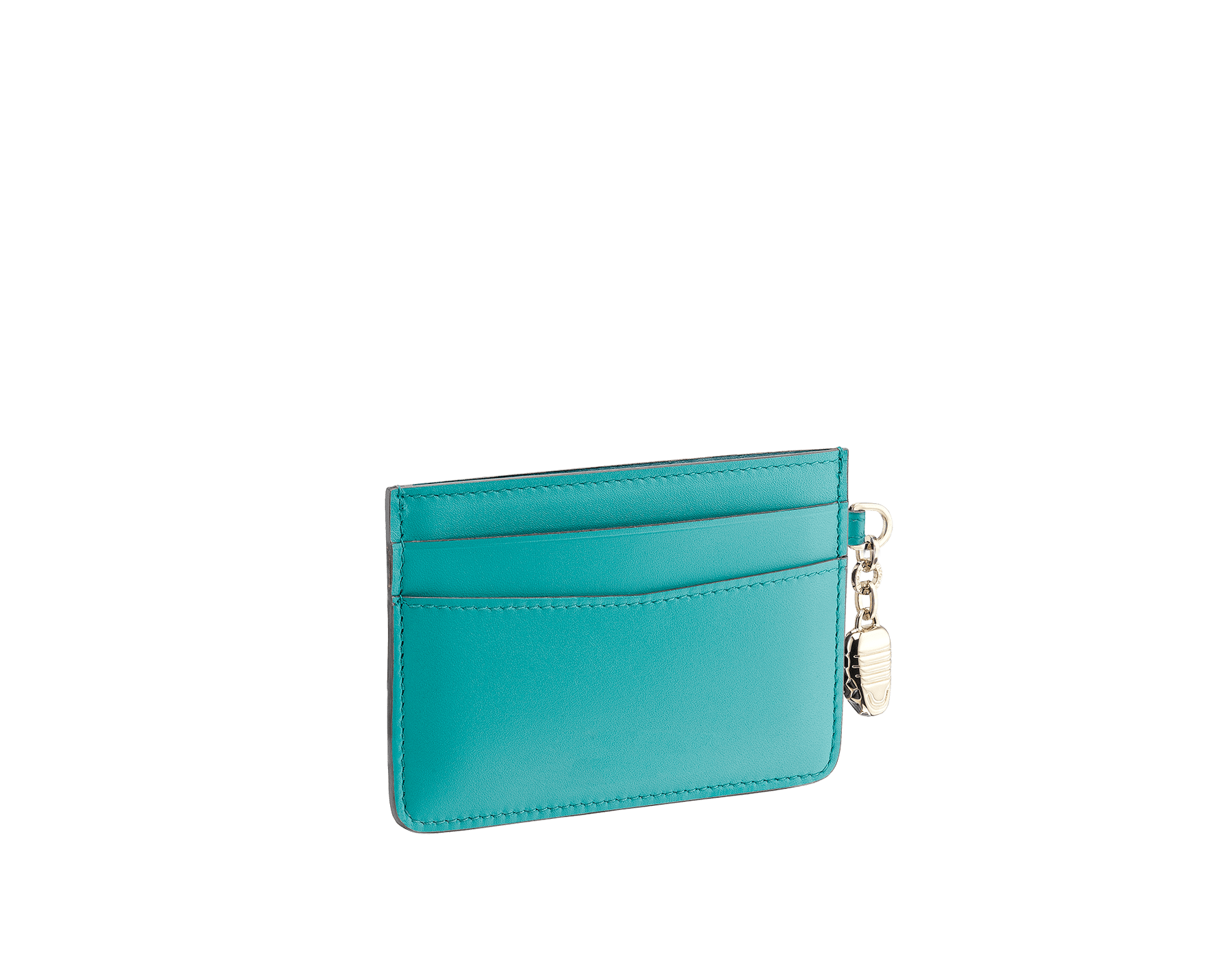 Serpenti Forever credit card holder in cobalt tourmaline and aster amethyst calf leather. Iconic snakehead charm in black and white enamel, with green malachite enamel eyes SEA-CC-HOLDER-CLc image 2