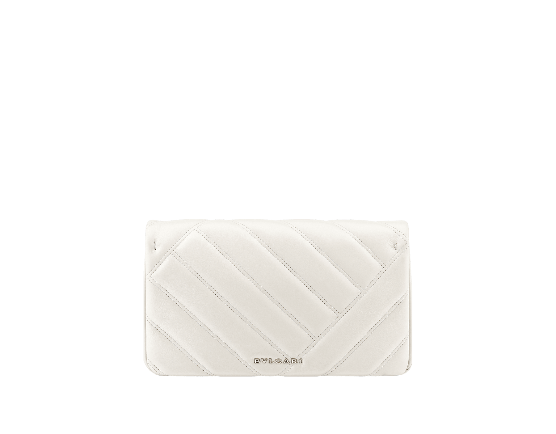 Serpenti Cabochon clutch bag in soft matelassé white calf leather, with a graphic motif. Brass light gold plated tempting snake head closure in black and white enamel and black onyx eyes. 289302 image 3