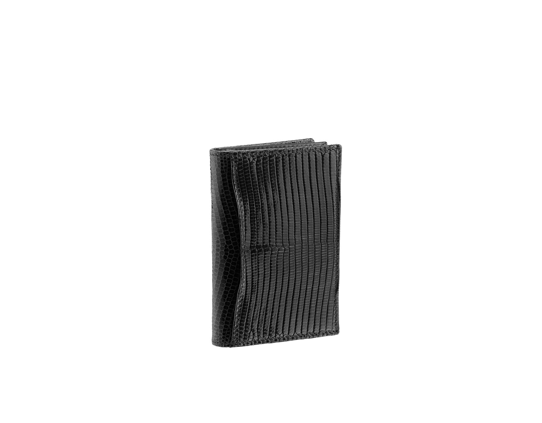 Business card holder in black shiny lizard skin and calf leather with brass palladium plated BVLGARI BVLGARI motif. Three credit card slots, one open pocket and Business cards compartment. 284396 image 3
