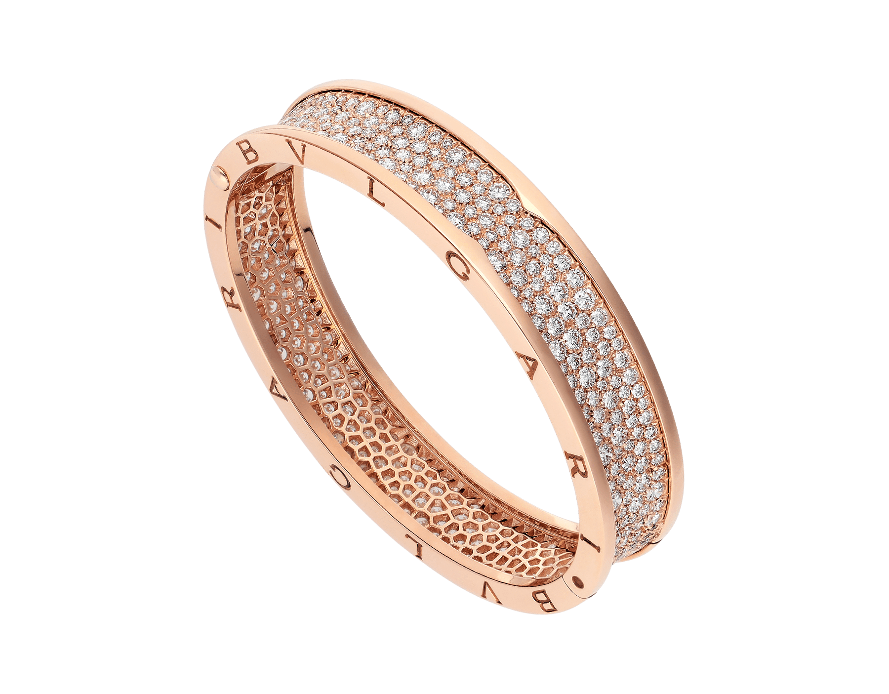 B.zero1 large bangle bracelet in 18 kt rose gold set with pavé diamonds on the spiral. BR856163 image 1