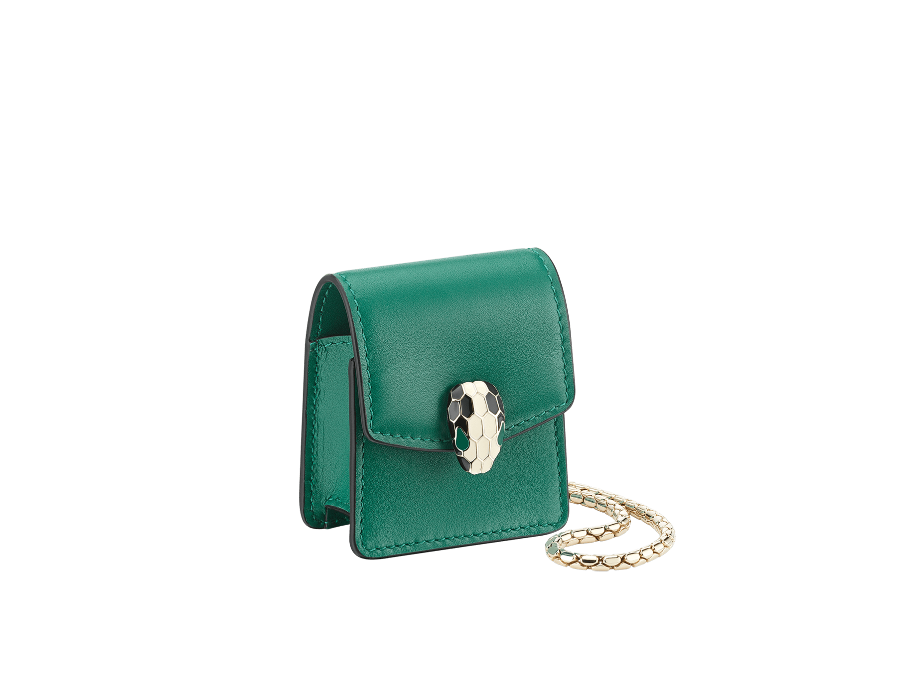 Serpenti Forever Earbuds holder in emerald green calf leather. Light gold plated brass Serpenti head closure in black and white enamel, with green enamel eyes. 289095 image 1