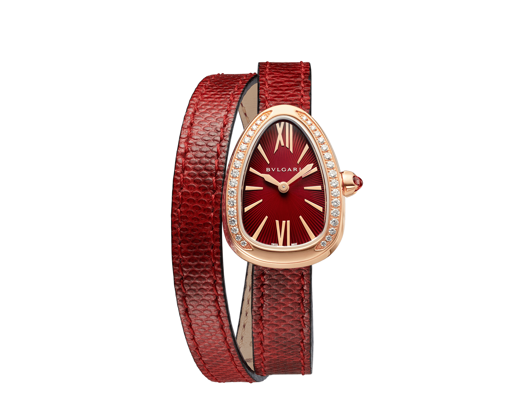 Serpenti watch with 18 kt rose gold case set with brilliant cut diamonds, red lacquered dial and interchangeable double spiral bracelet in red karung leather. 102730 image 1
