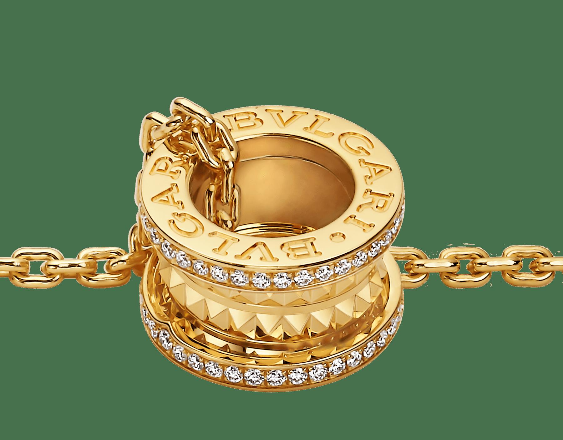 B.zero1 Rock 墜鍊,18K 黃金材質,飾以鉚釘,綴以密鑲鑽石。 358349 image 3