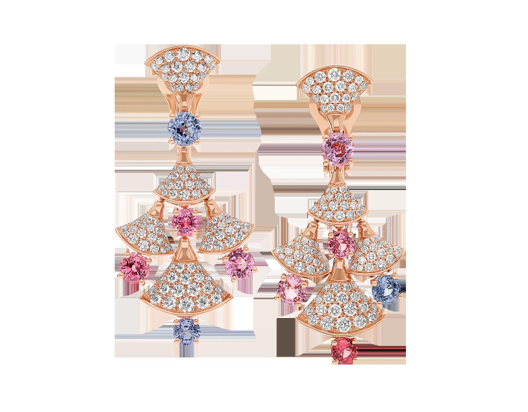 Серьги DIVAS' DREAM, розовое золото 18карат, шпинели классической огранки (3,81 карата), бриллиантовое паве (2,22 карата). 357943 image 1