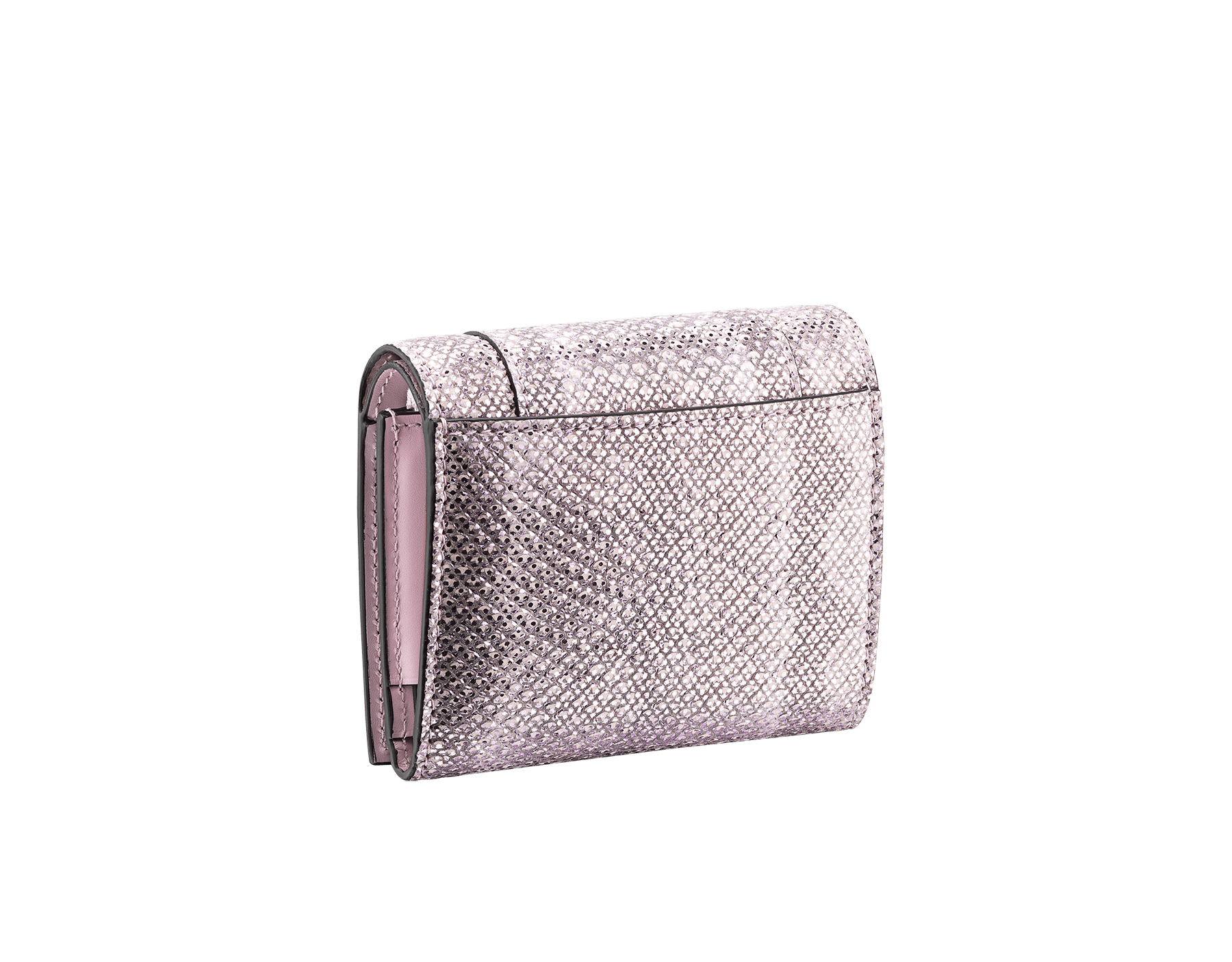 Serpenti Forever super compact wallet in rosa di francia metallic karung skin and rosa di francia calf leather. Iconic snakehead press stud closure in black and rosa di francia enamel, black enamel eyes. 289080 image 3