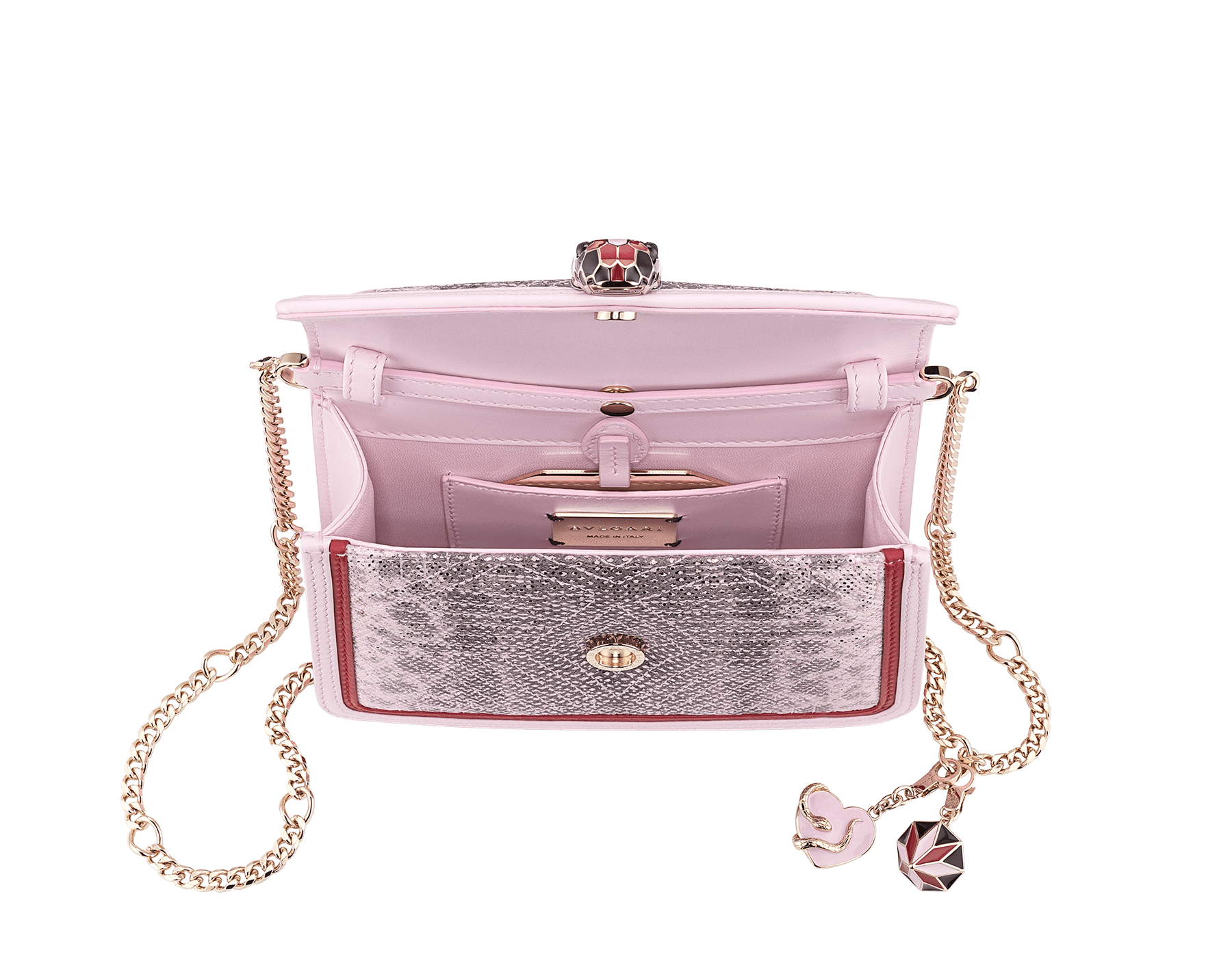 Serpenti Diamond Blast crossbody micro bag in rosa di Francia quilted metallic karung skin body and rosa di Francia and carmine jasper calf leather frames. Snakehead closure in light gold plated brass with black, carmine jasper and rosa di Francia enamel, black onyx eyes, heart-shaped and three-dimensional diamond-shaped detachable charms. 289549 image 4