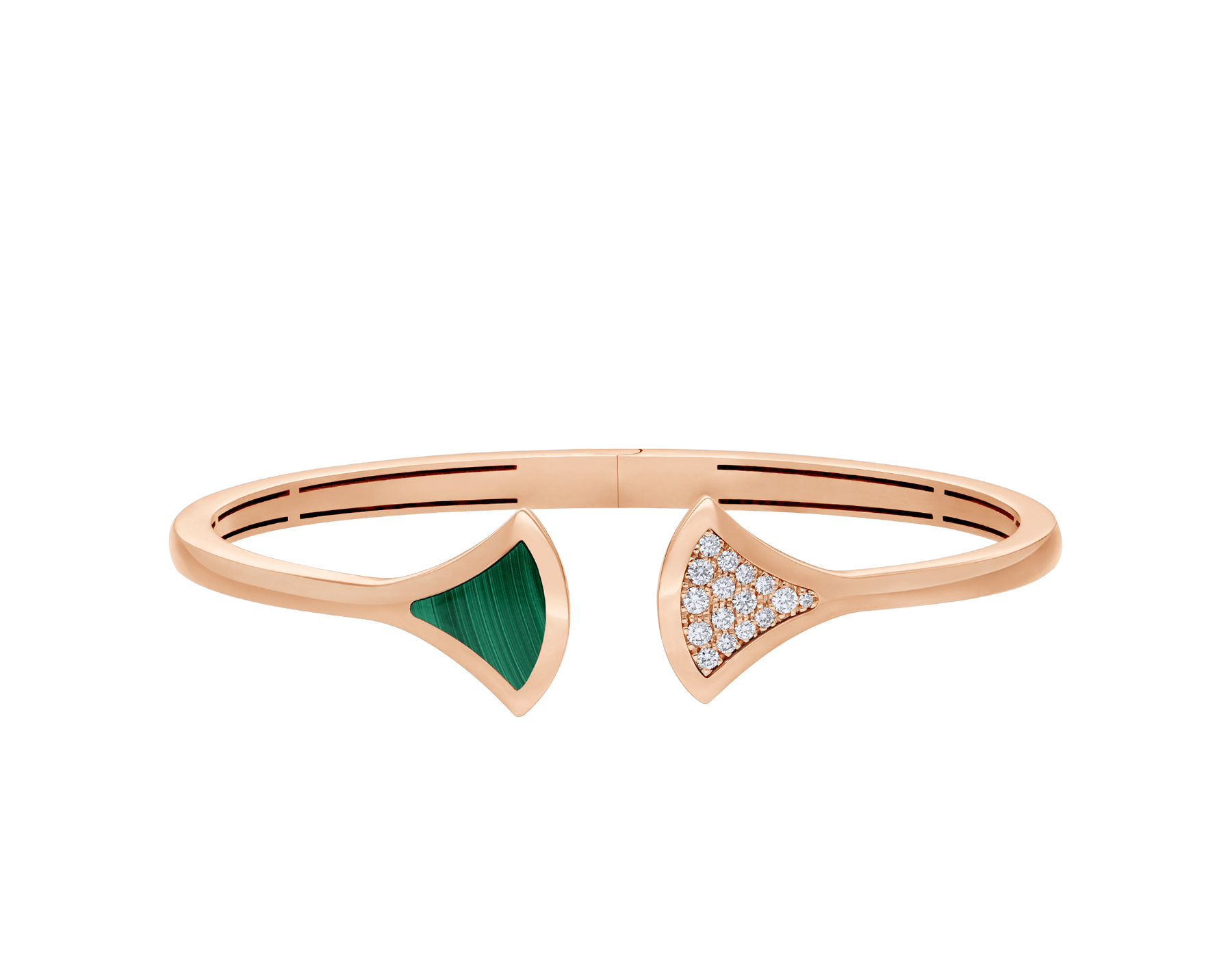 DIVAS' DREAM 18 kt rose gold bangle bracelet set with malachite element and pavé diamonds (0.16 ct) BR858679 image 2
