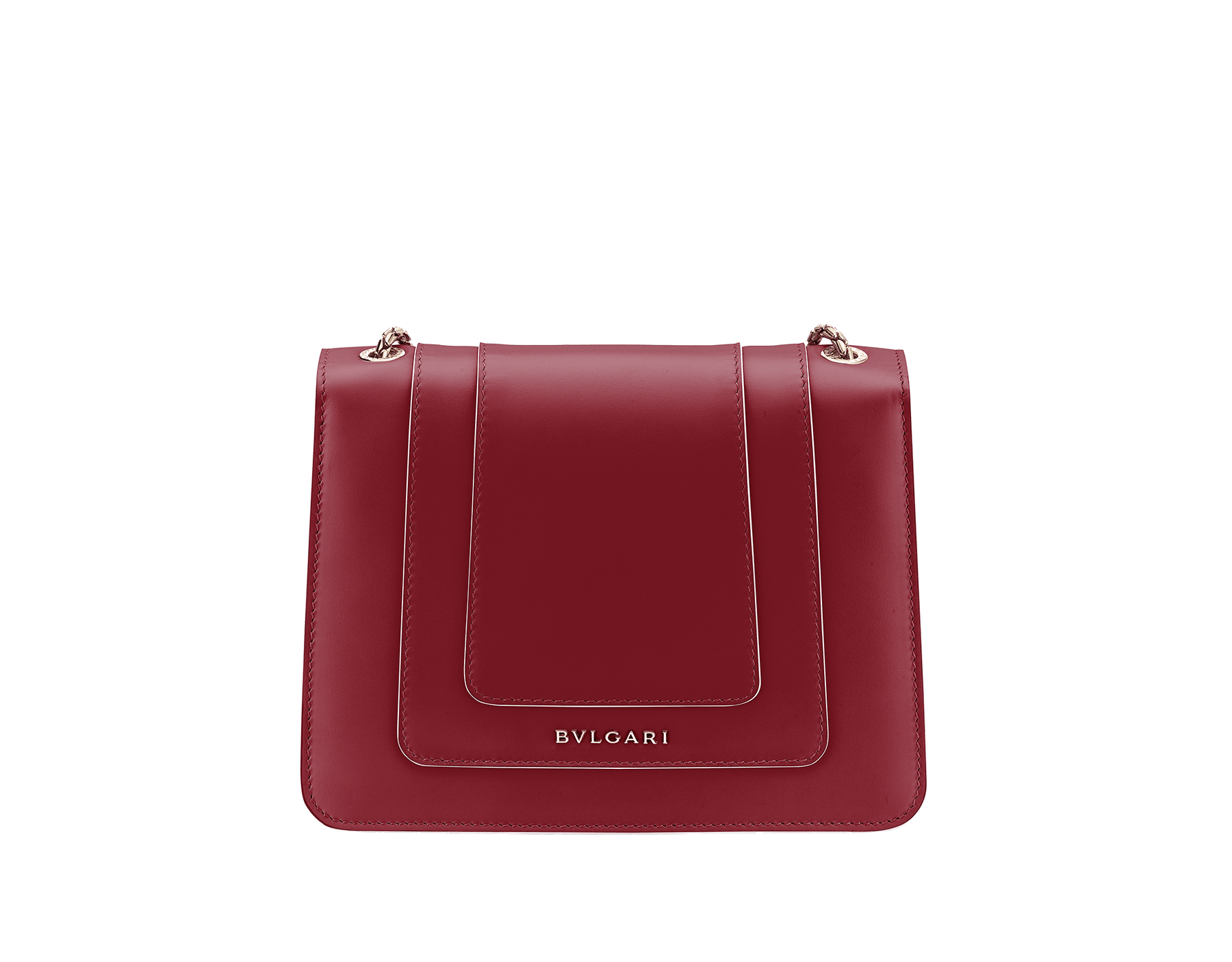 Serpenti Forever crossbody bag in Roman garnet calf leather, with rosa di francia calf leather sides. Iconic snakehead closure in light gold plated brass embellished with black and white enamel and green malachite eyes. 289035 image 6