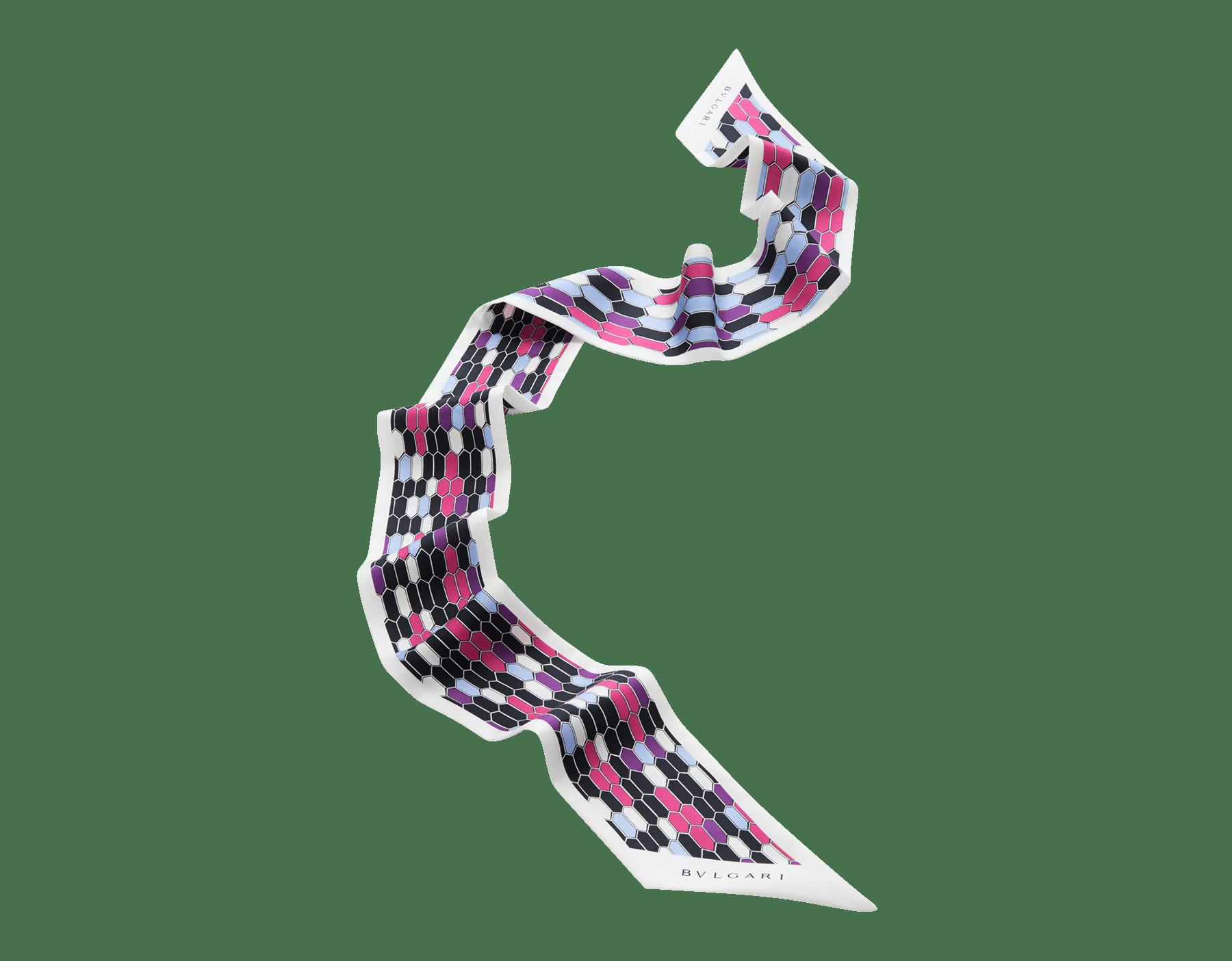 Étole Serpenti Reverie blanc agate en twill de soie fin. 242937 image 1