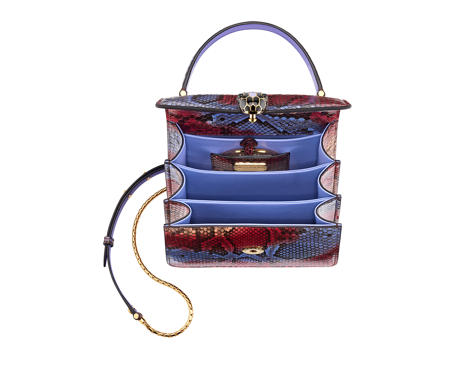 """""""Serpenti Forever """" top handle bag in multicolor """"Chimera"""" python skin with Lavander Amethyst lilac nappa leather internal lining. Tempting snakehead closure in gold plated brass enriched with black and Lavander lilac enamel, and black onyx eyes 290579 image 2"""