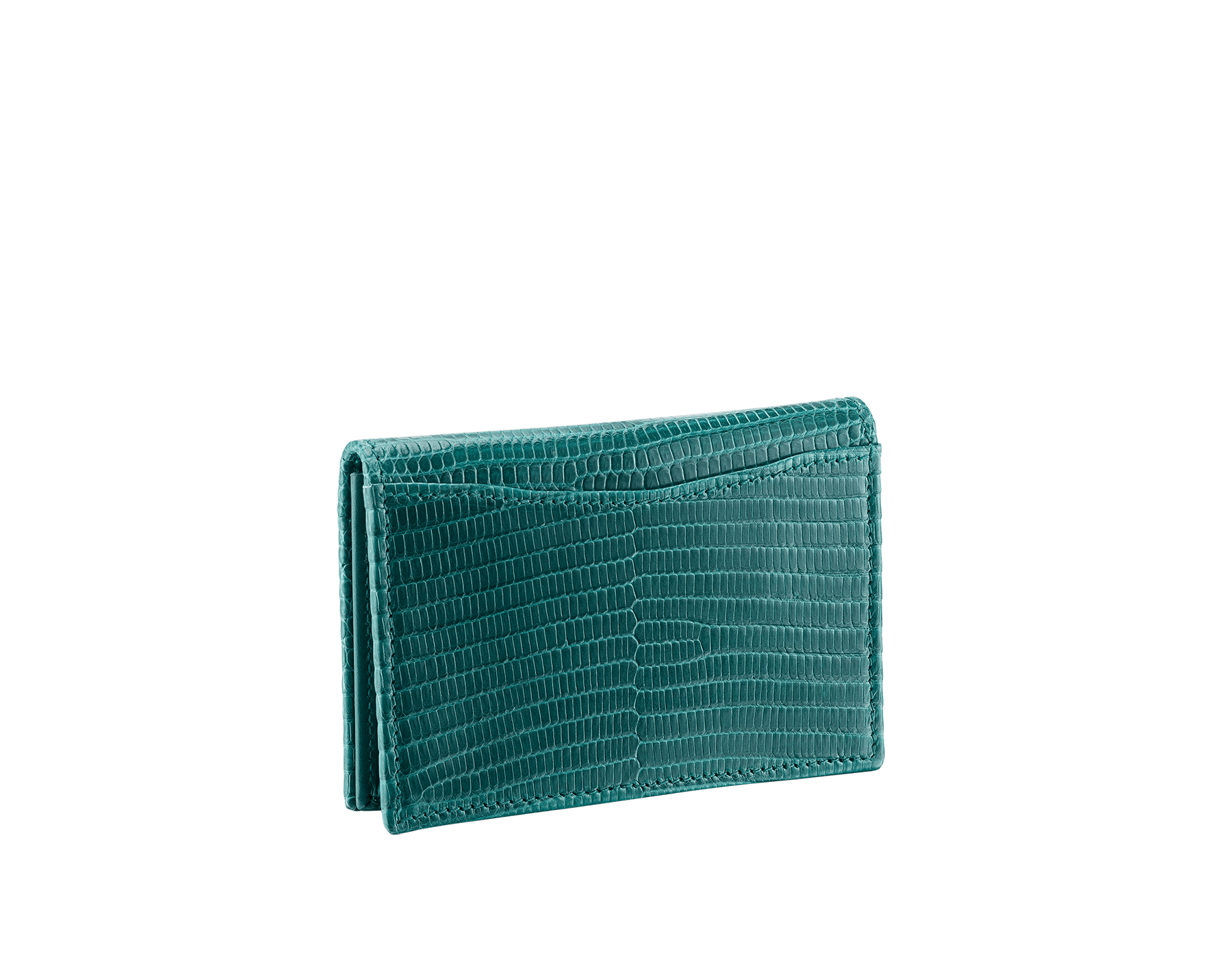BVLGARI BVLGARI business card holder in forest emerald shiny lizard skin, with brass palladium plated logo décor. 289395 image 3