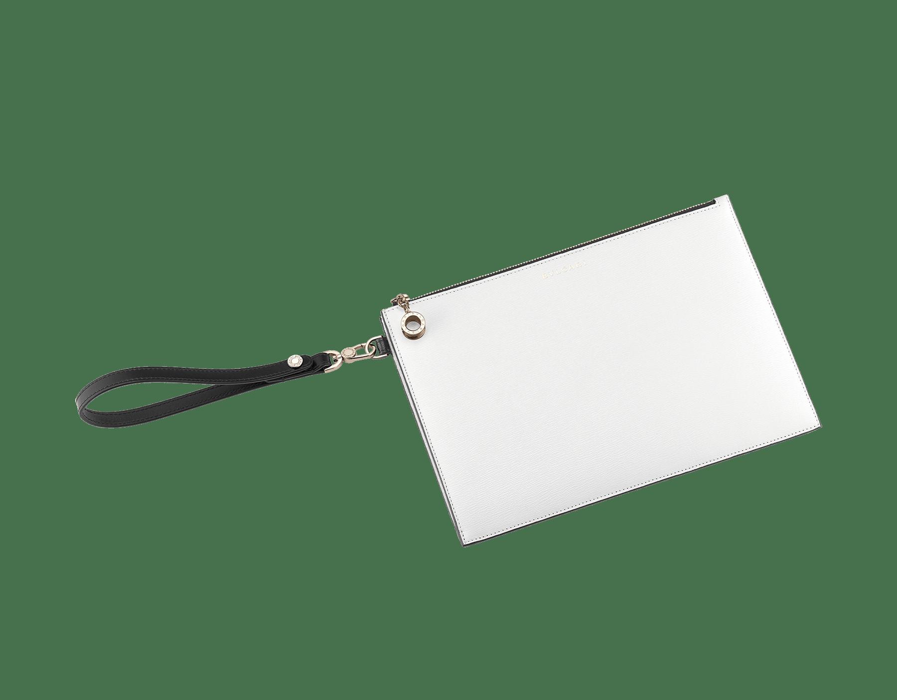 Grande pochette B.zero1 en cuir de chèvre noir et couleur blanc agate et cuir nappa noir. Fermeture éclair avec bijou B.zero1 emblématique en laiton doré. BZA-ZIPPOCHETTEL image 1