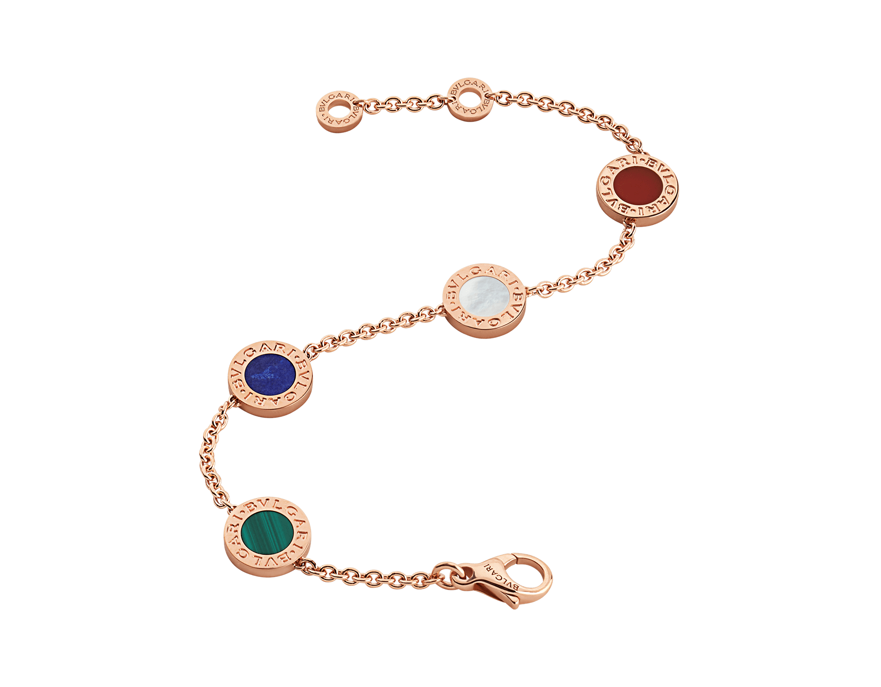 BVLGARI BVLGARI 18 kt rose gold bracelet set with carnelian, lapis, malachite and mother of pearl elements BR857842 image 2