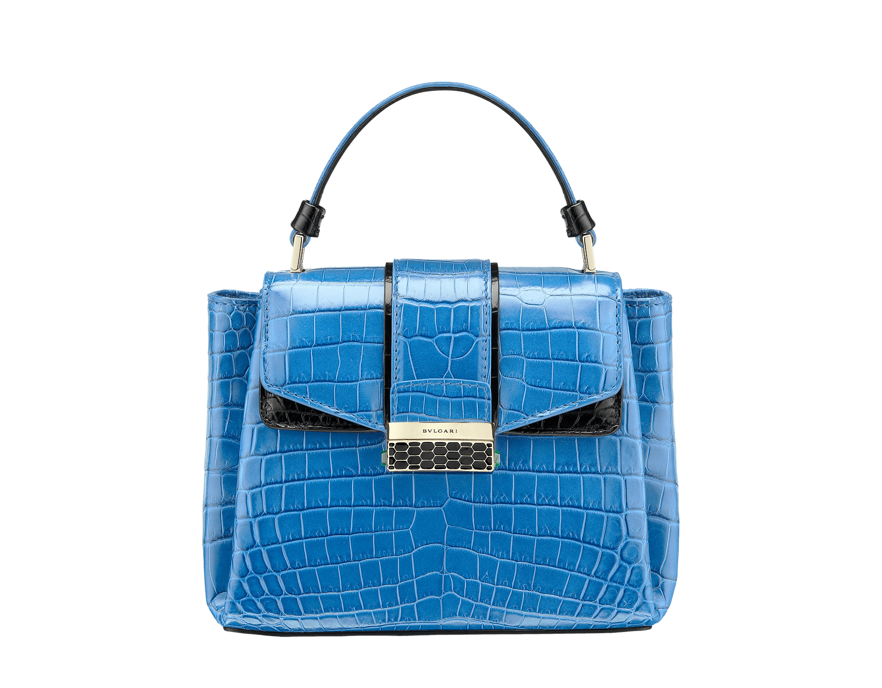 Top handle bag Serpenti Viper in cloud topaz and black shiny crocodile skin. 282924 image 1