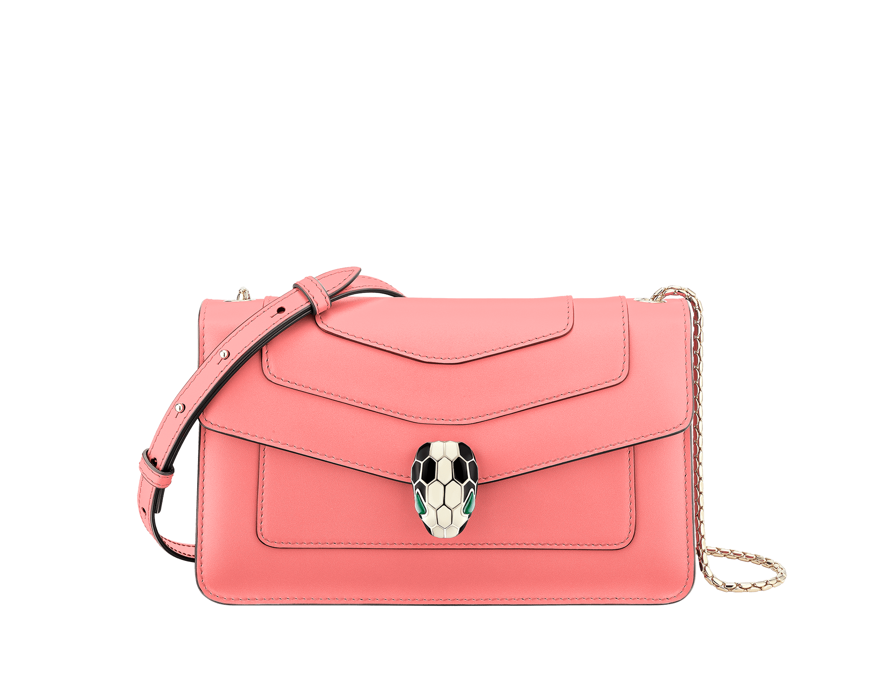 """Serpenti Forever"" crossbody bag in silky coral calf leather. Iconic snake head closure in light gold plated brass enriched with black and white enamel and green malachite eyes. 288708 image 1"