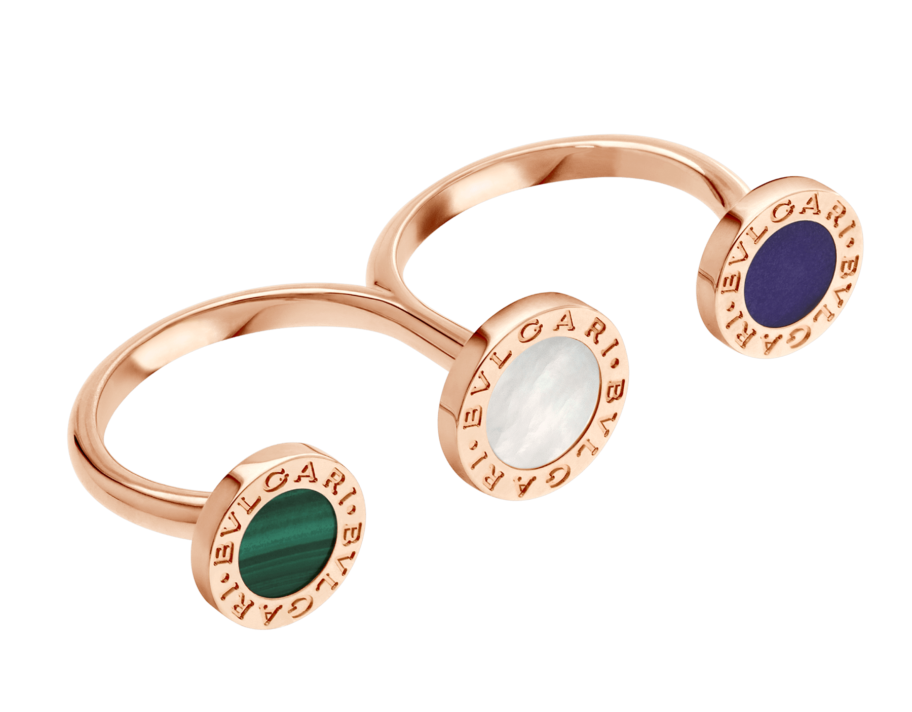BVLGARI BVLGARI open ring in 18 kt rose gold set with mother-of-pearl, malachite and sugilite elements AN858545 image 2