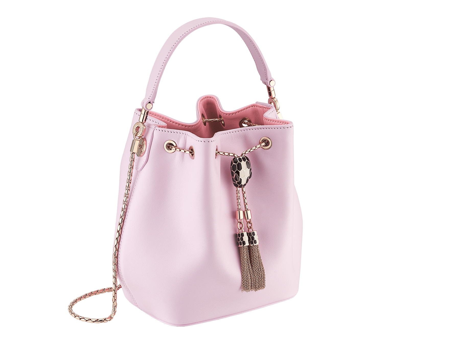 Serpenti Forever bucket in rosa di francia smooth calf leather and a flamingo quartz inner lining. Hardware in light gold plated brass and snakehead closure in black and white enamel, with eyes in black onyx. 288769 image 2