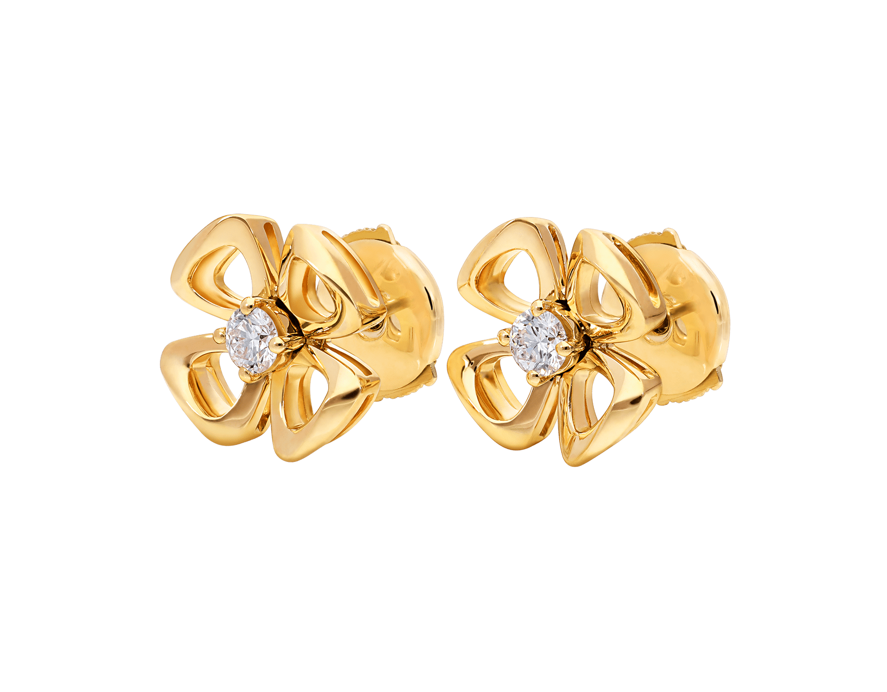 Fiorever 18 kt yellow gold stud earrings set with two central diamonds (0.10 ct each) 357503 image 2