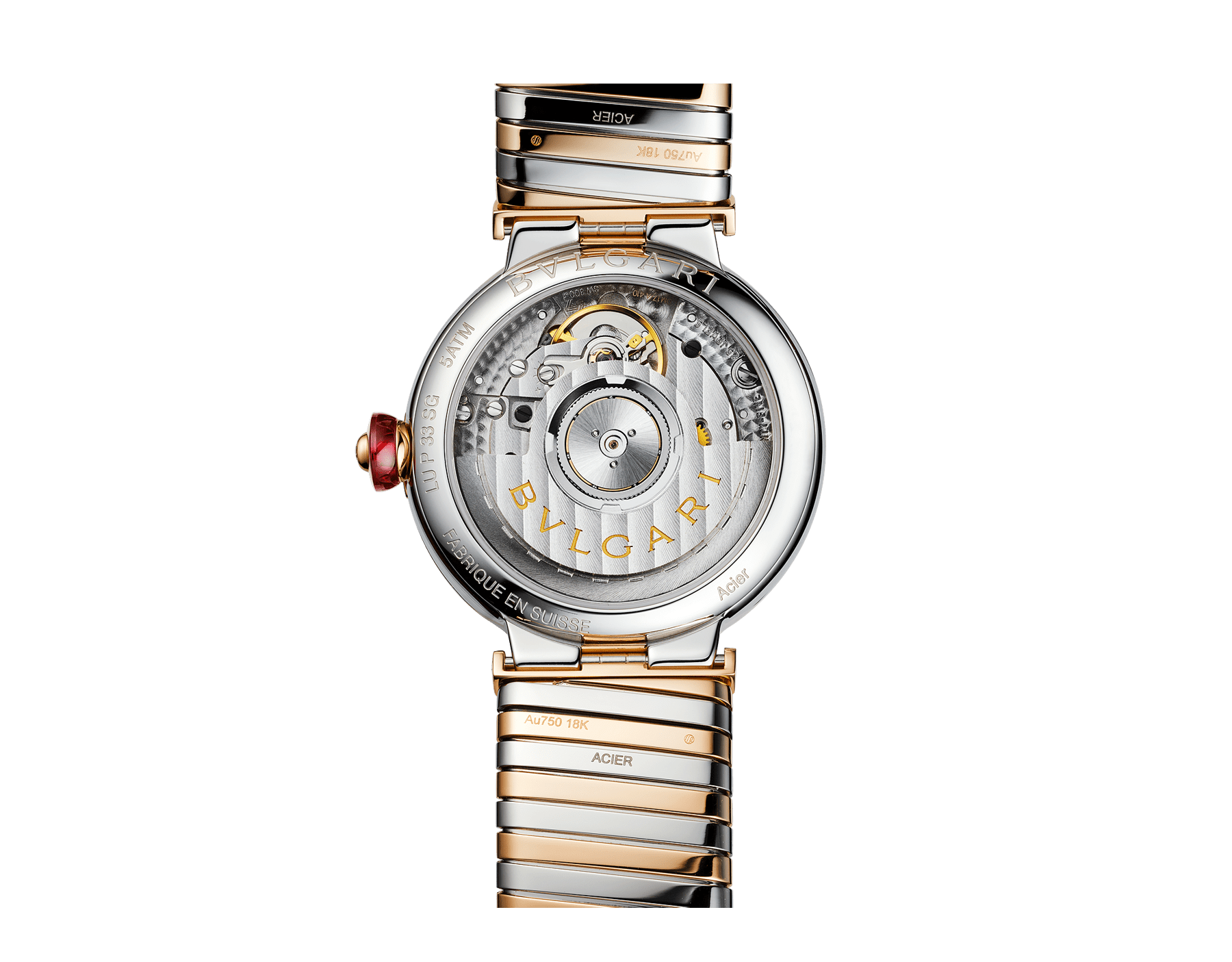 LVCEA Tubogas watch in 18 kt rose gold and stainless steel case and tubogas bracelet, with white mother-of-pearl dial and diamond indexes 102954 image 3