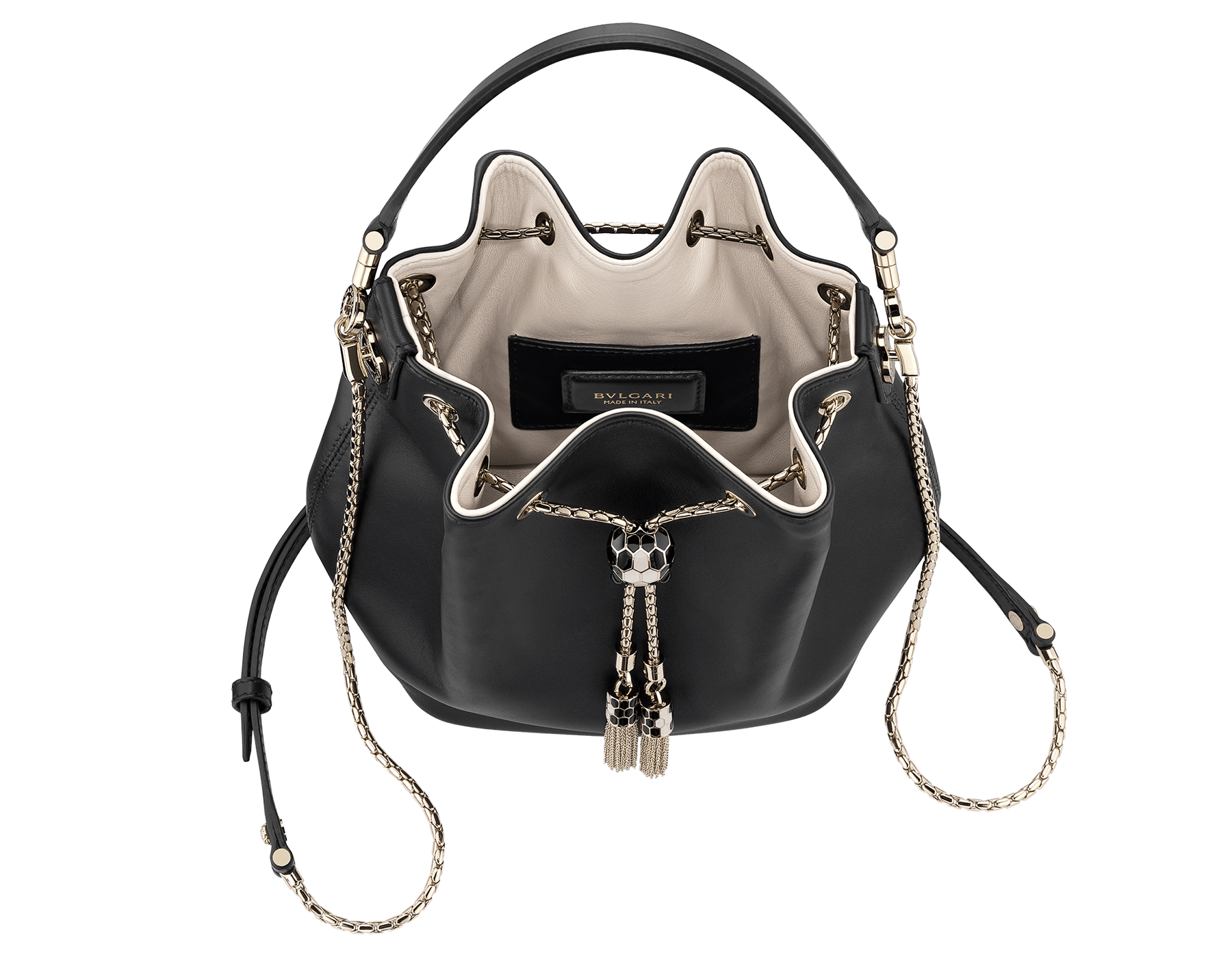 Bucket Serpenti Forever in black smooth calf leather and milky opal nappa internal lining. Hardware in light gold plated brass and snakehead closure in black and white enamel, with eyes in black onyx. 934-CLb image 4