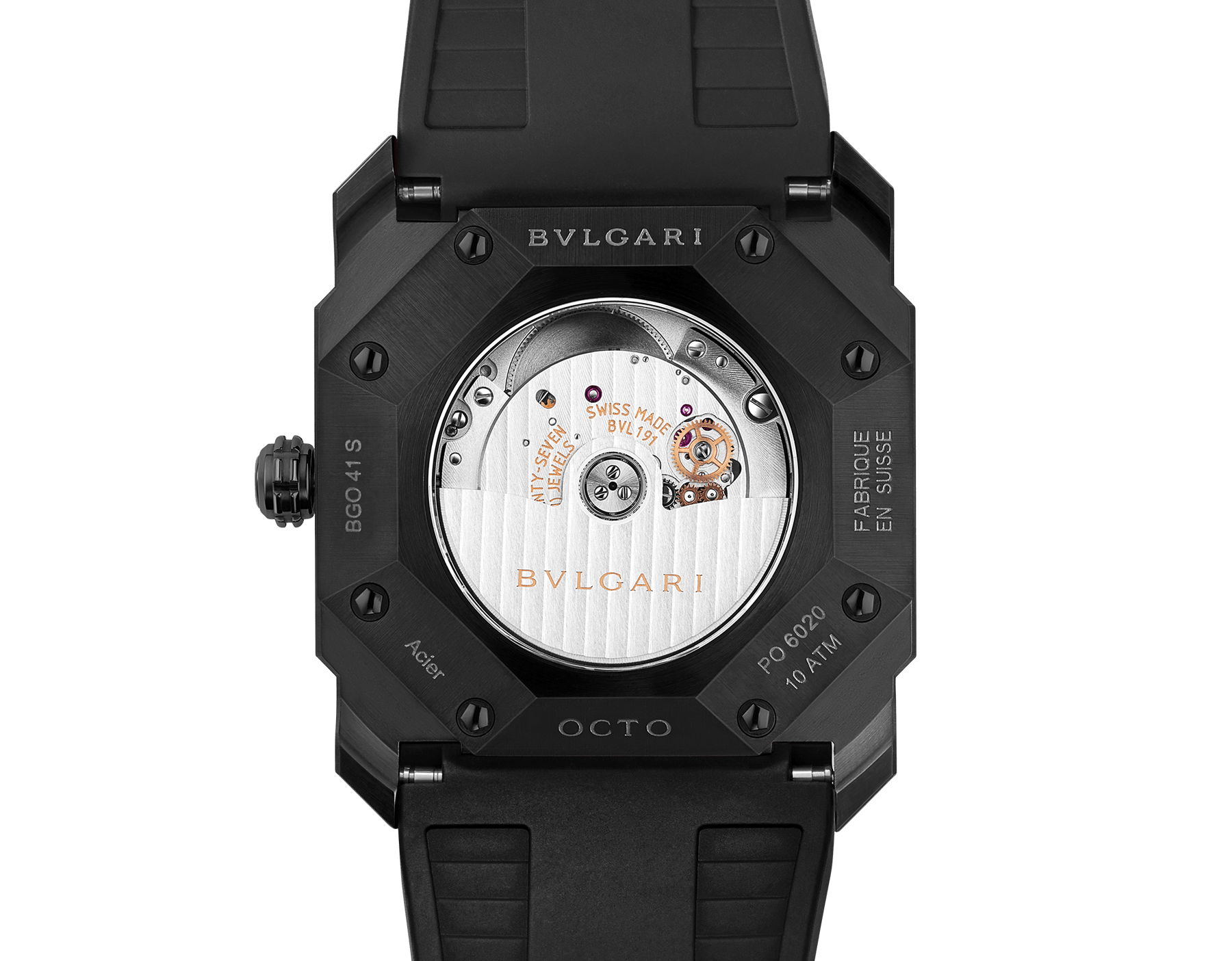 Octo watch with mechanical manufacture movement, automatic winding and date, stainless steel case treated with black Diamond Like Carbon, black lacquered dial and black rubber bracelet. 102738 image 4