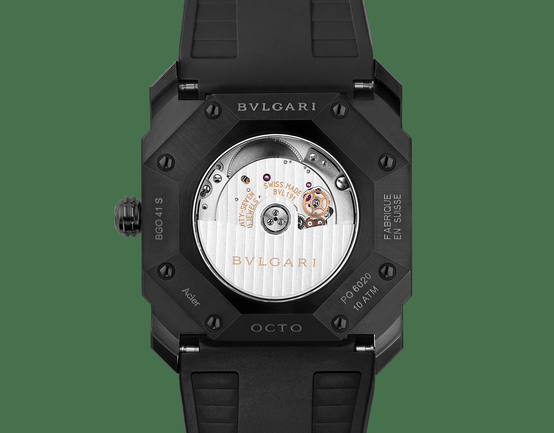 Часы Octo, мануфактурный механизм с автоматическим заводом и указателем даты, корпус из нержавеющей стали с черным алмазоподобным углеродным покрытием DLC, черный лакированный циферблат, черный ремешок из каучука. 102738 image 4