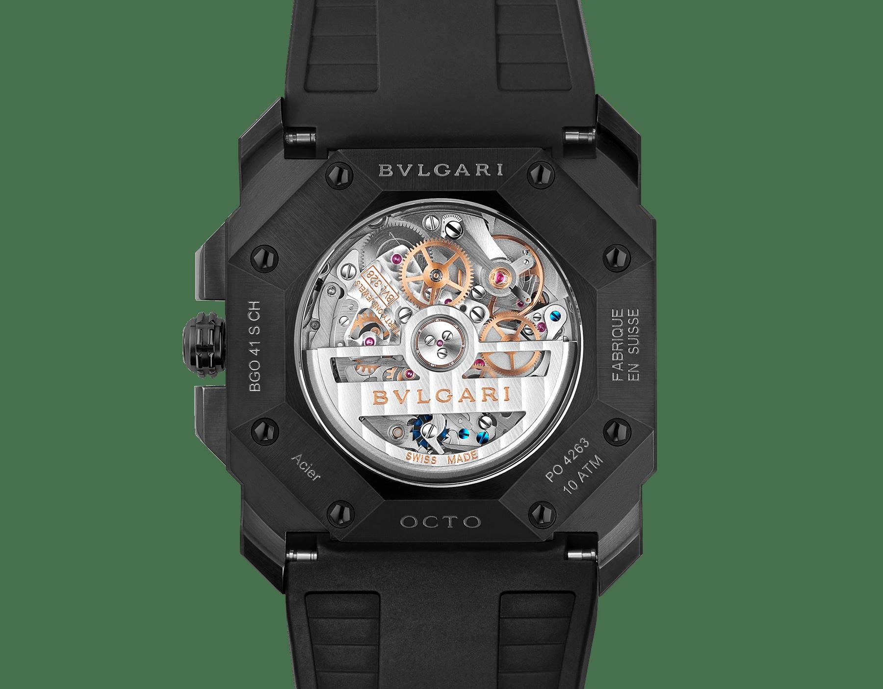 Octo L'Originale 腕錶,搭載機械機芯,整合式導柱輪高頻計時結構(5 赫茲),矽質擒縱結構,自動上鍊,日期顯示,精鋼錶殼飾以黑色 DLC 類鑽碳高耐磨鍍膜,灰色錶盤,黑色橡膠錶帶。 103027 image 4