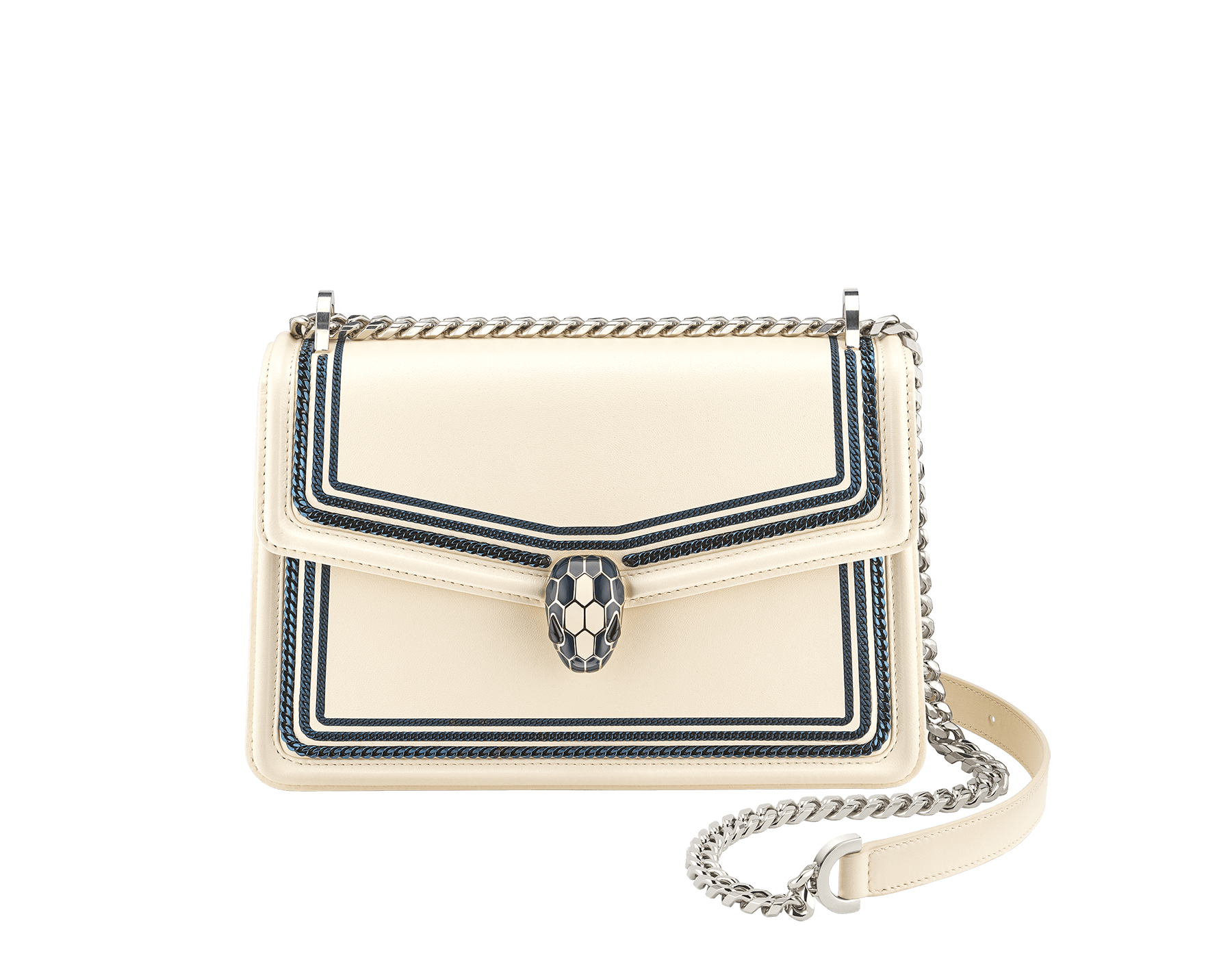 """""""Serpenti Diamond Blast"""" shoulder bag in Ivory Opal white smooth calf leather, featuring a Teal Topaz green 3-Maxi Chain motif, and an Aquamarine light blue nappa leather internal lining. Tempting snakehead closure in palladium-plated brass, embellished with Teal Topaz green and Ivory Opal white enamel, and black onyx eyes. 291173 image 2"""